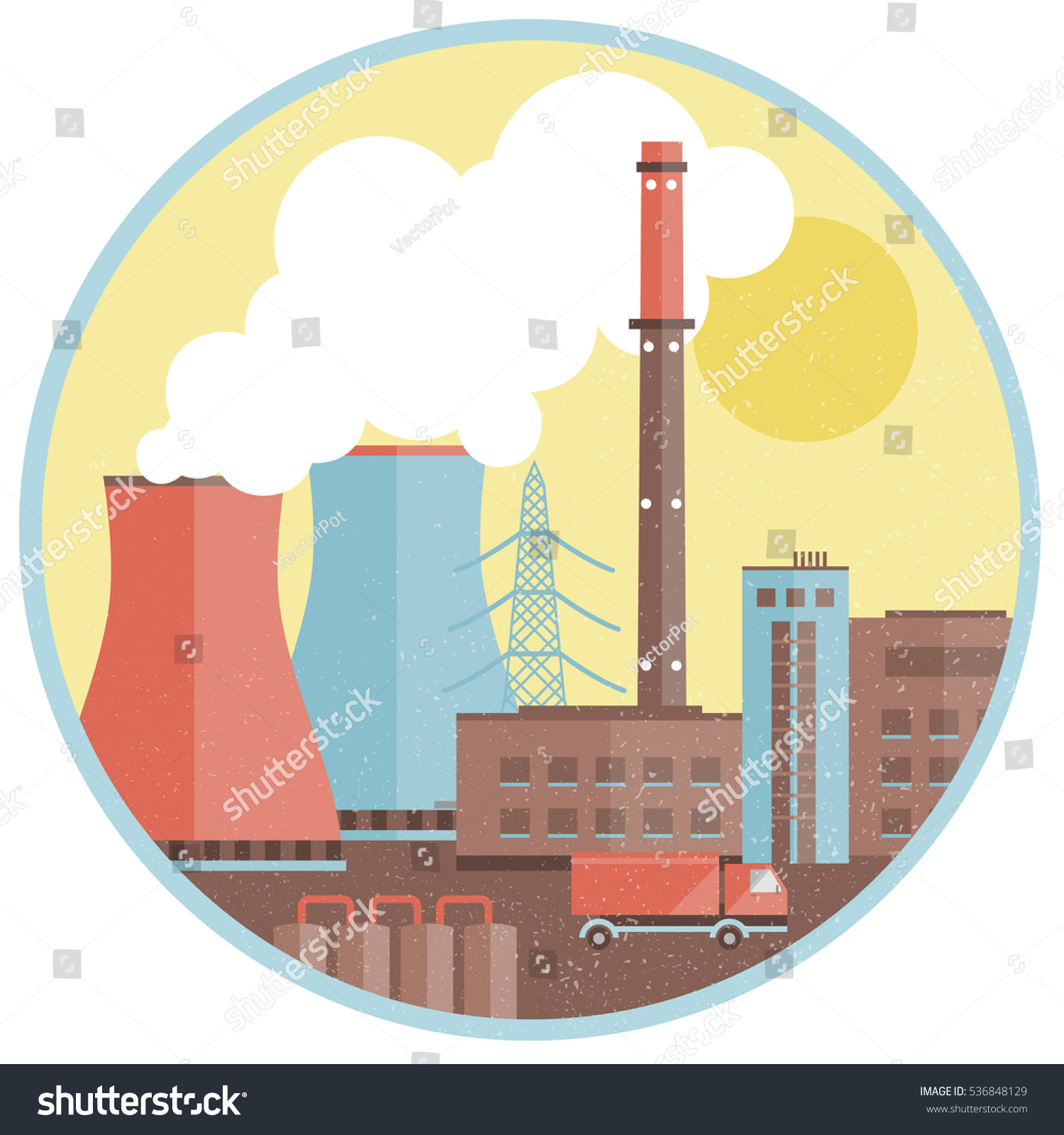 Production Factory Template Buildings Smoke Chimney Stock Vector ...