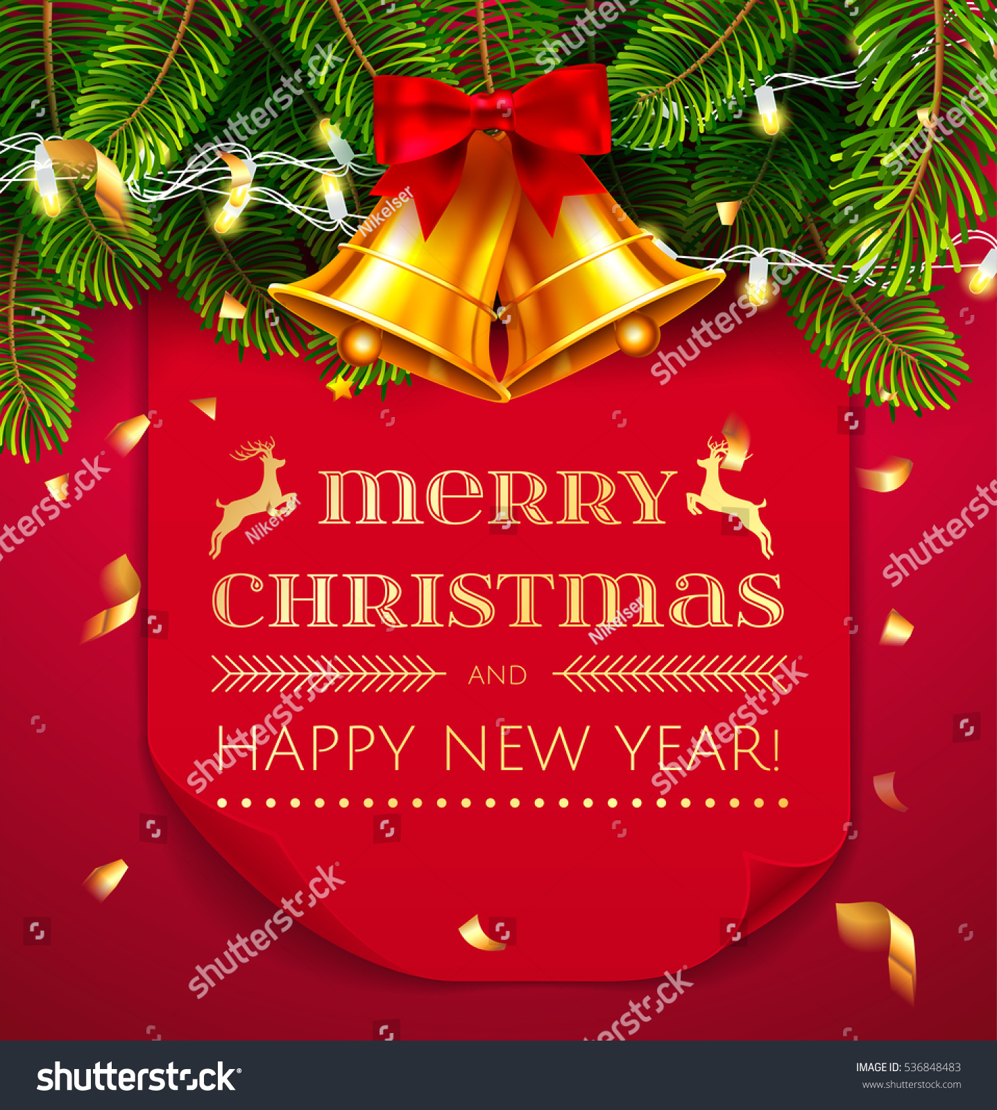 merry christmas and happy new year greeting card template red curved paper