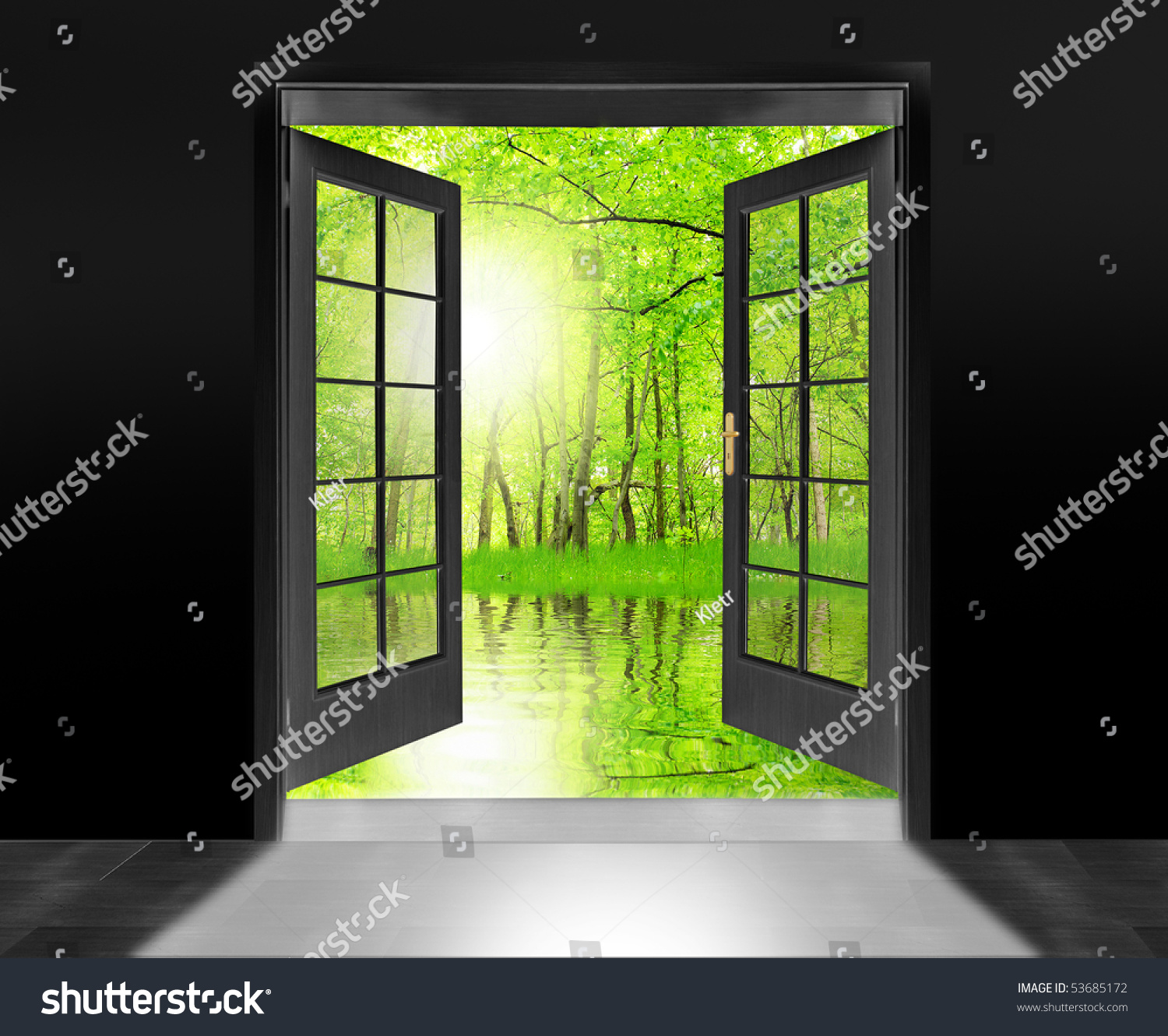 Opened door to beautiful sunrise in imaginary rural landscape - conceptual image - environmental business metaphor & Opened Door Beautiful Sunrise Imaginary Rural Stock Photo 53685172 ... Pezcame.Com