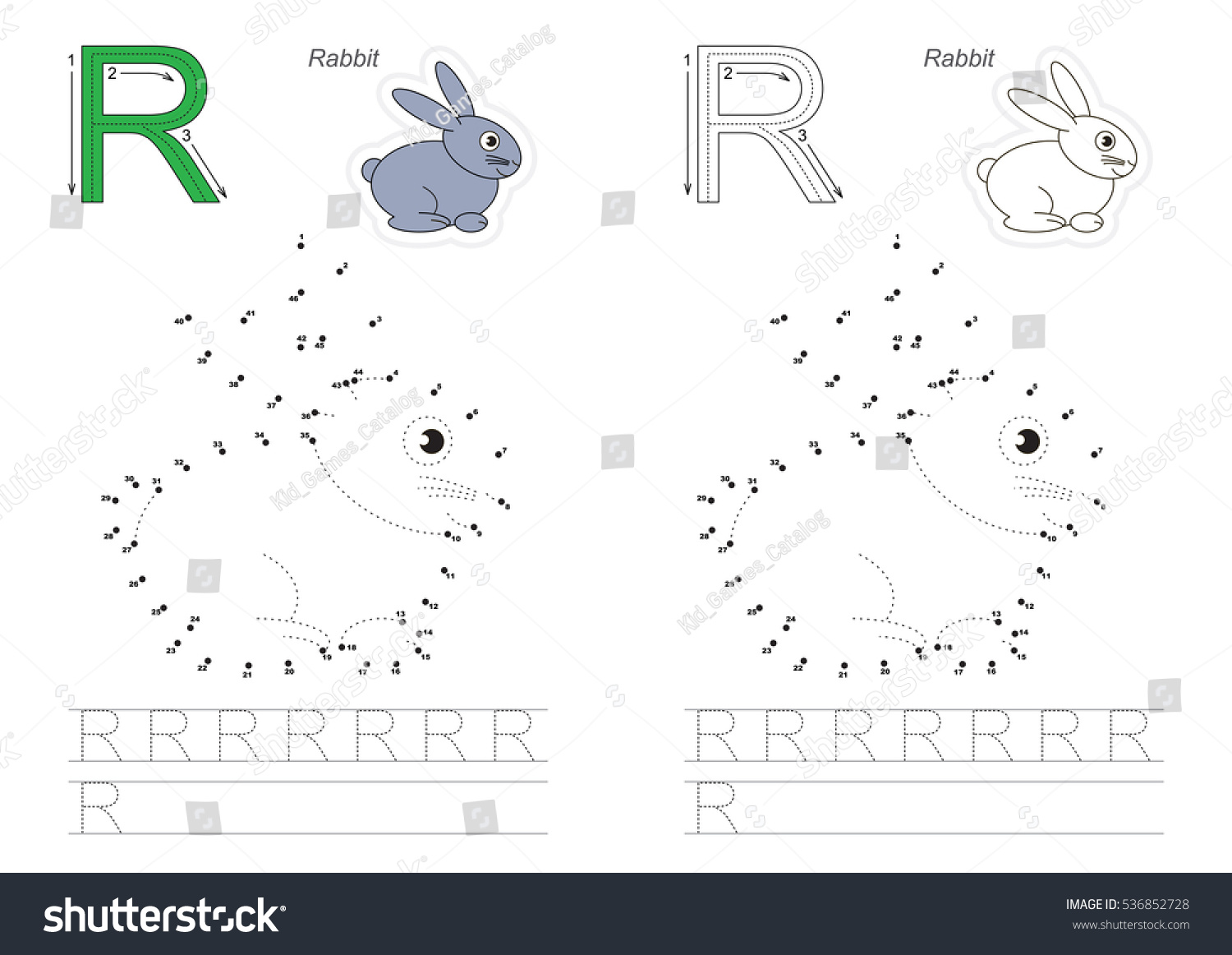Vector Alphabet Exercise Kid Educational Games Stock Vector