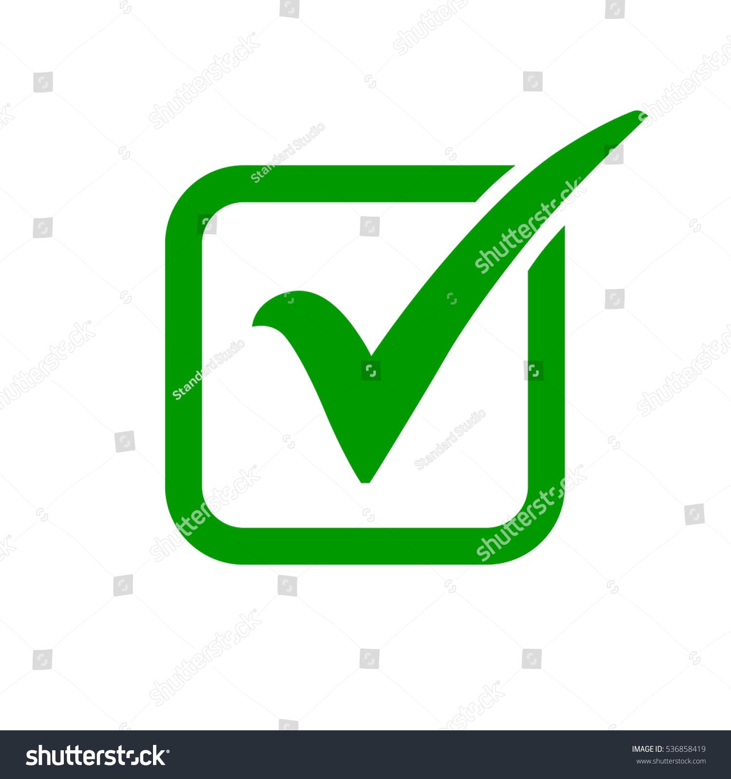 Green check mark icon box tick stock vector 536858419 shutterstock green check mark icon in a box tick symbol in green color vector illustration biocorpaavc Gallery