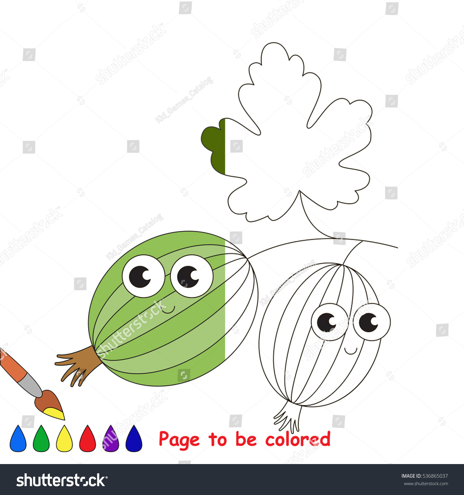 Gooseberry Be Colored Coloring Book Educate Stock Vector 536865037 ...