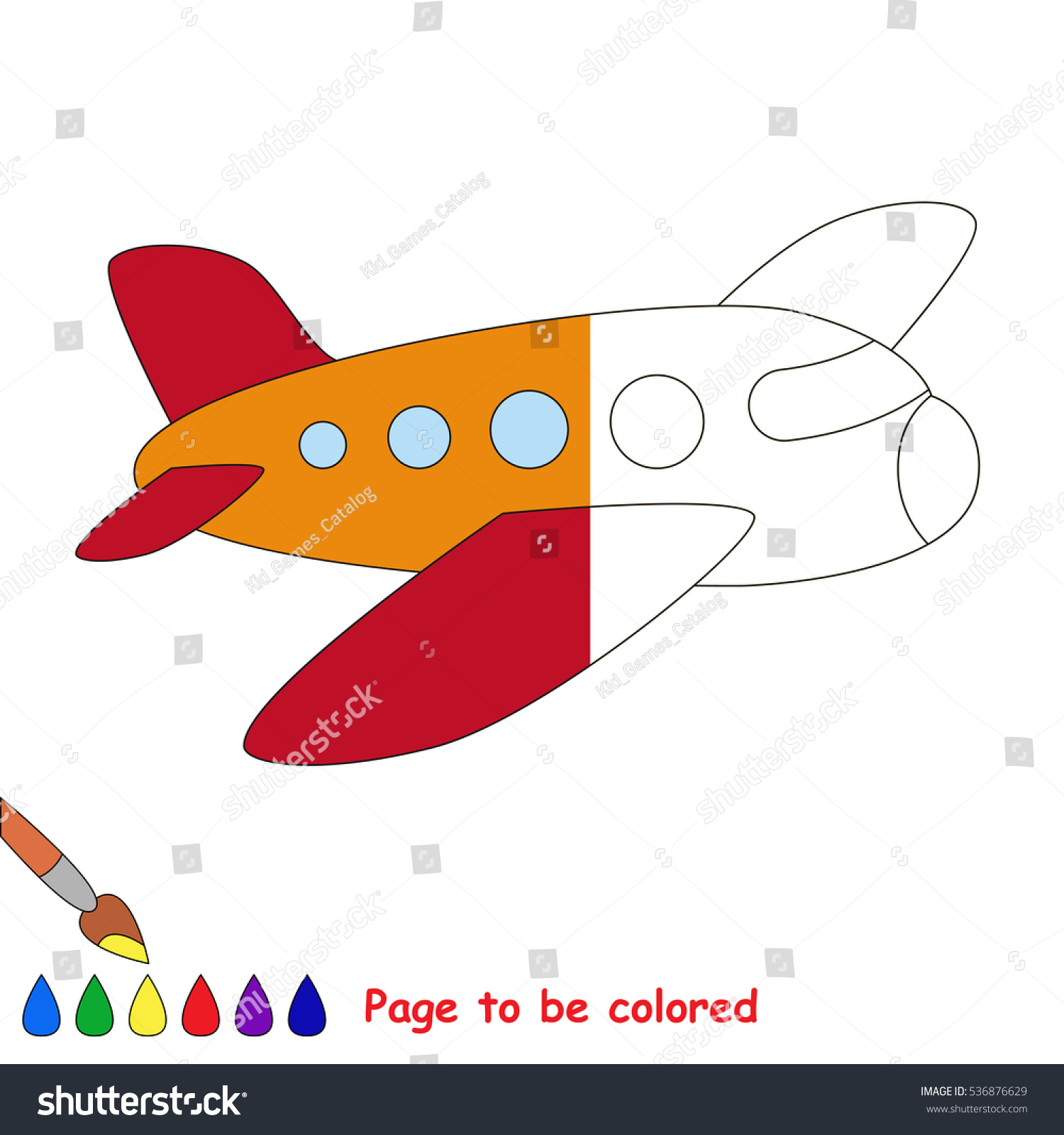 Airplane Be Colored Coloring Book Educate Stock Vector HD (Royalty ...