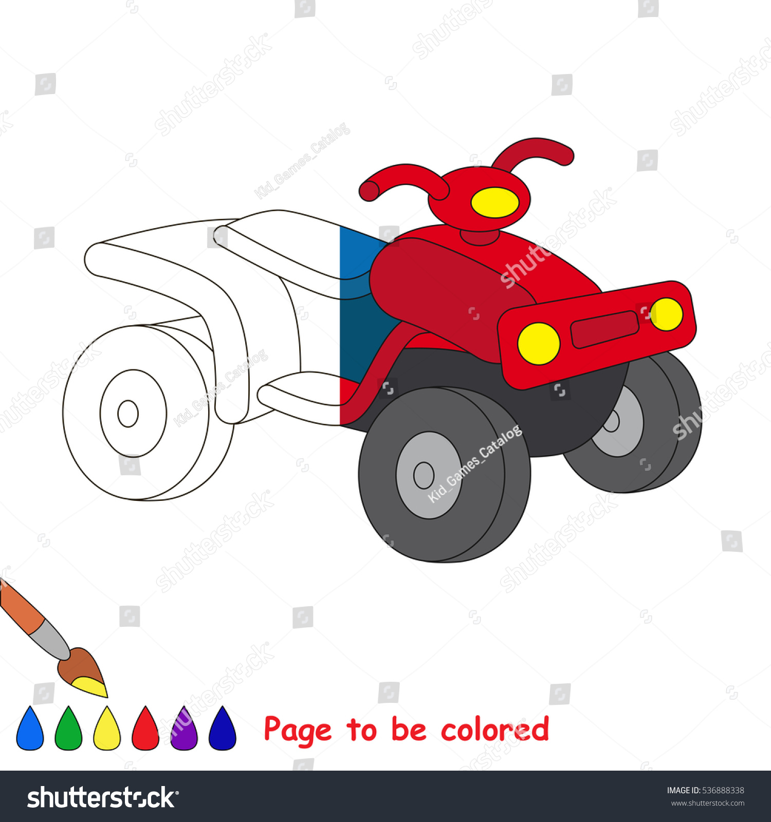 Quad Bike Be Colored Coloring Book Stock Vector 536888338 - Shutterstock