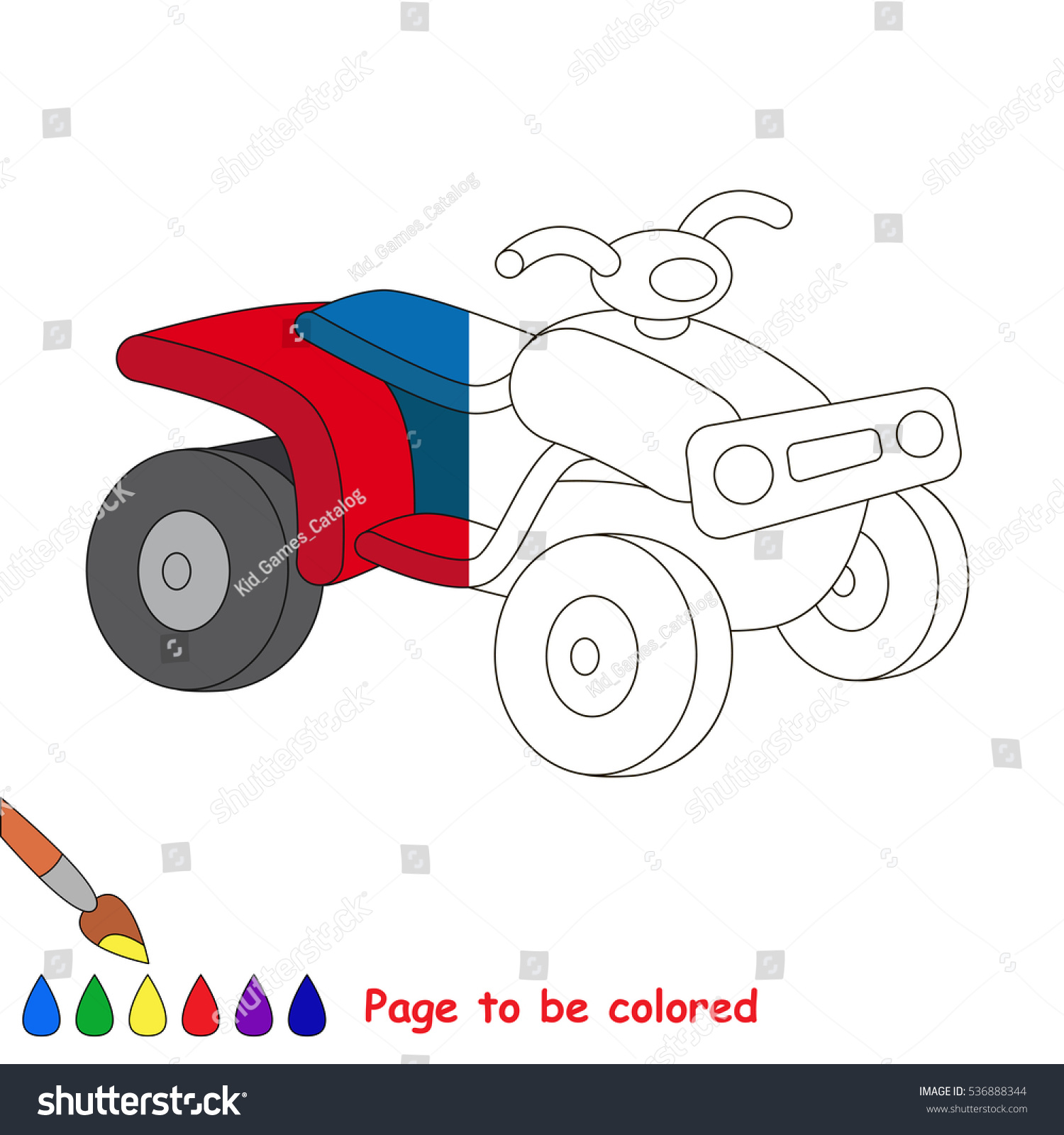 quad bike be colored coloring book stock vector 536888344