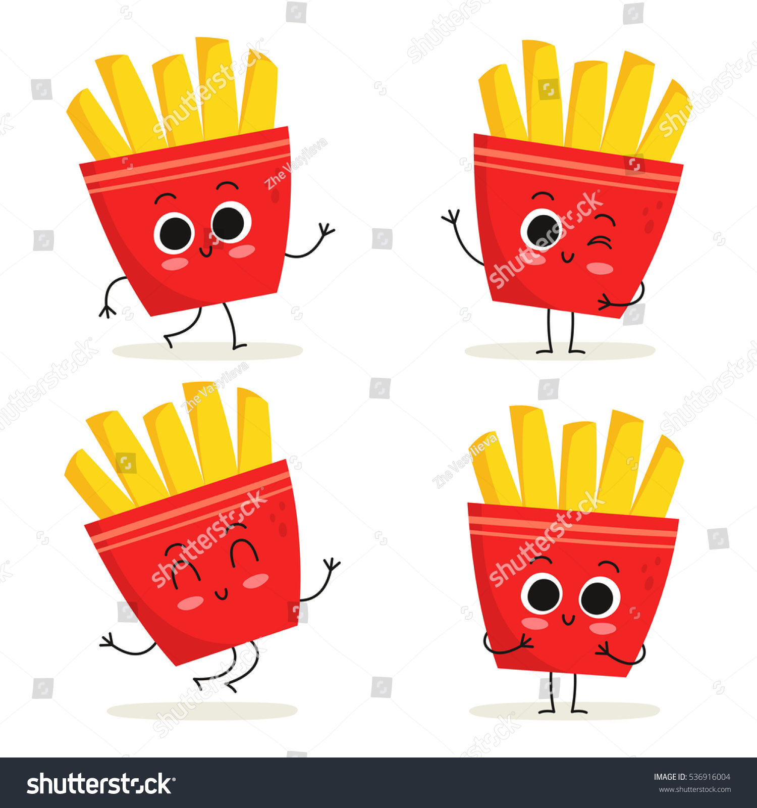 french fries cute fast food vector stock vector 536916004