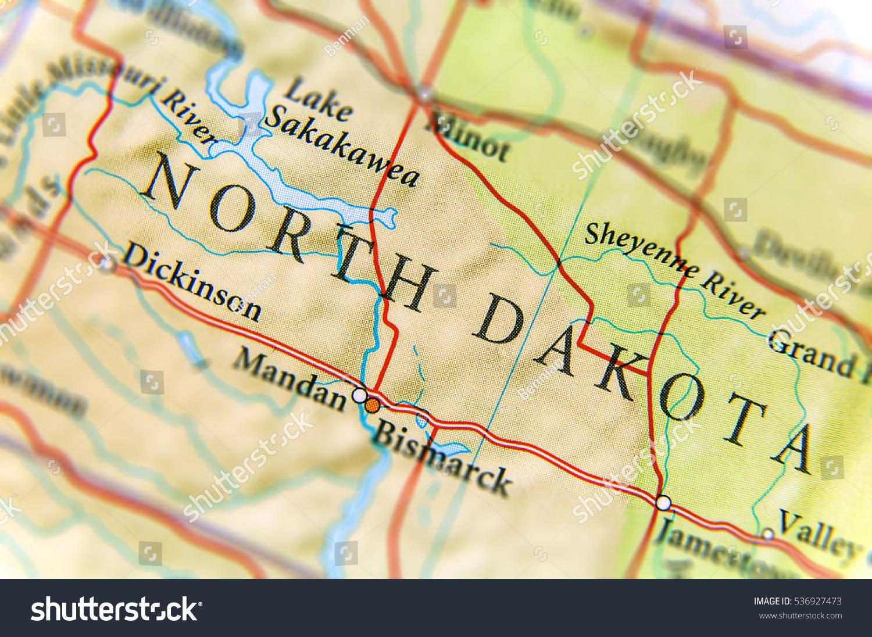 Us Map North Dakota.Geographic Map Us State North Dakota Stock Photo Edit Now