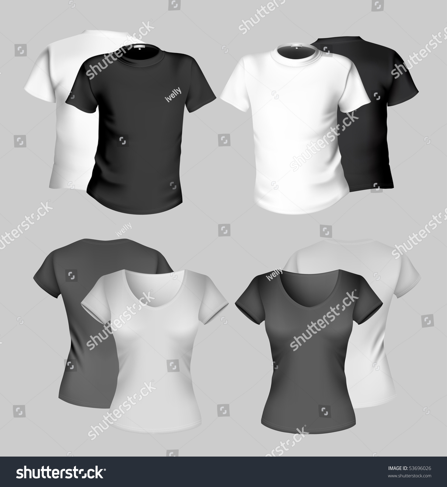 Shirt design illustrator template - Vector Illustration T Shirt Design Template Men And Women Black And
