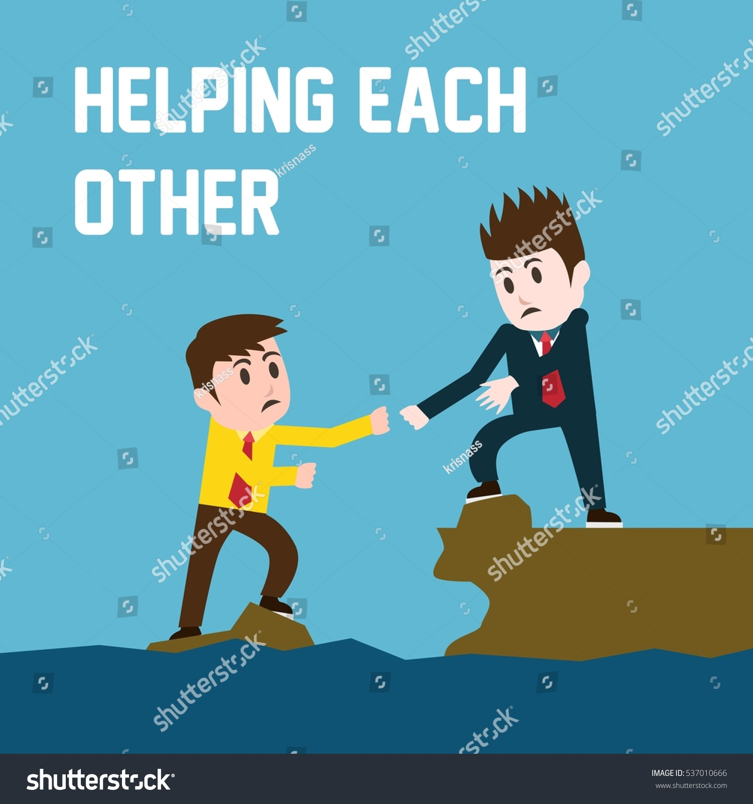 Helping Each Other: Helping Each Other Poster Stock Vector 537010666