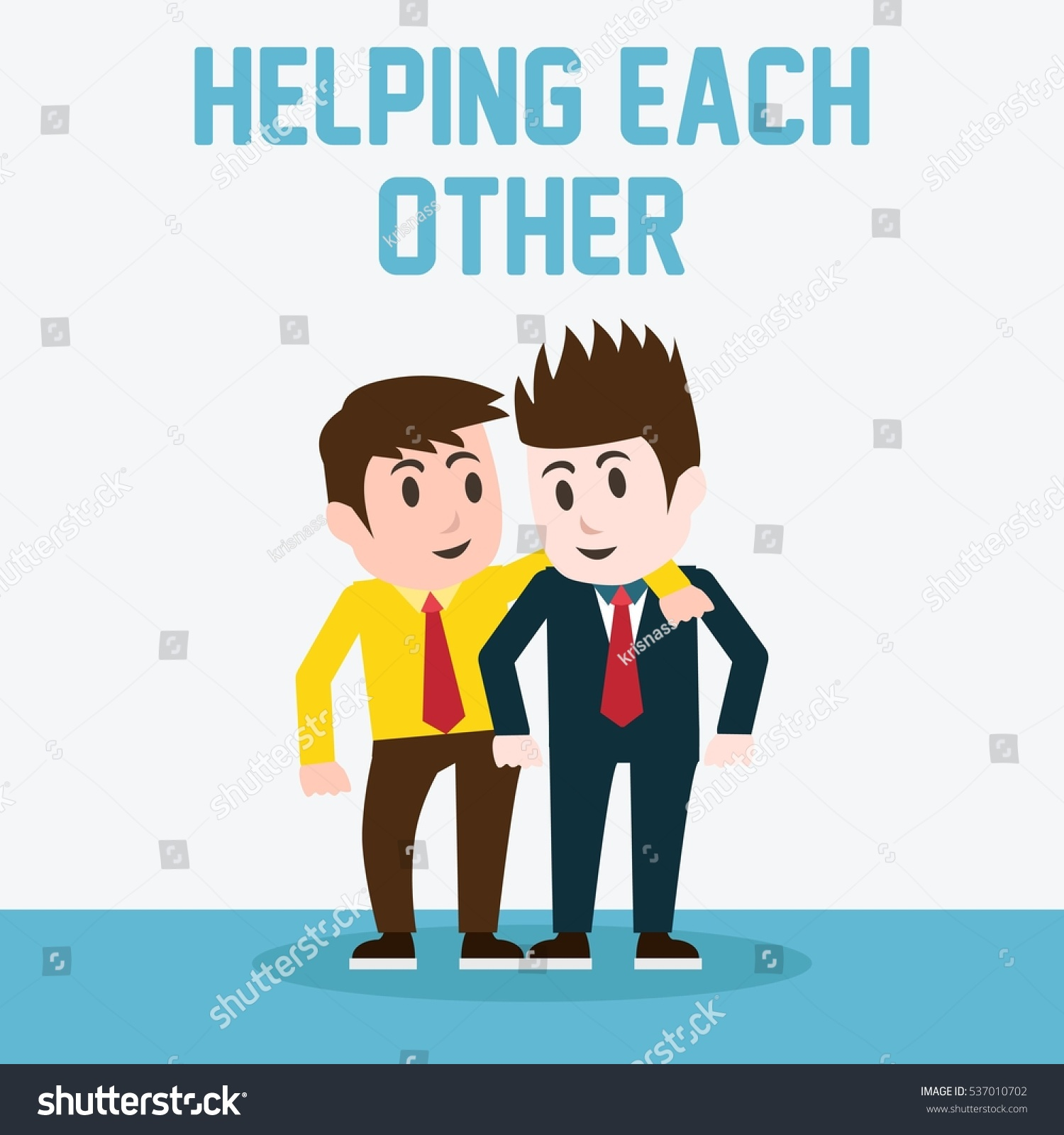 Helping Each Other: Helping Each Other Poster Stock Vector 537010702