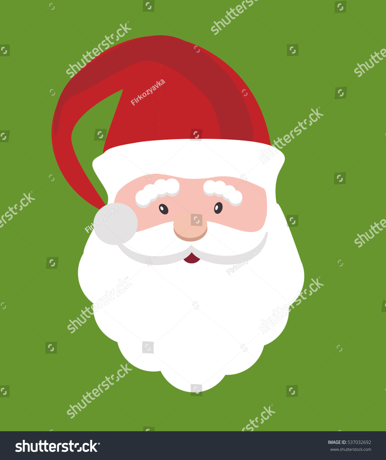 Santa Claus Icon Santa Claus Face In Flat Design Christmas Card