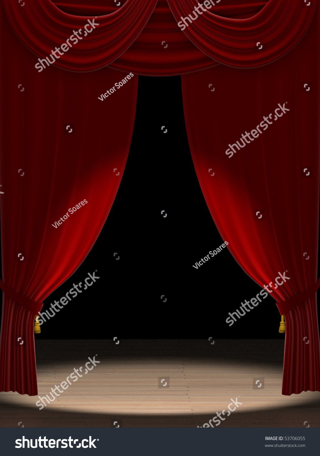 Red curtains with spotlight - Save To A Lightbox