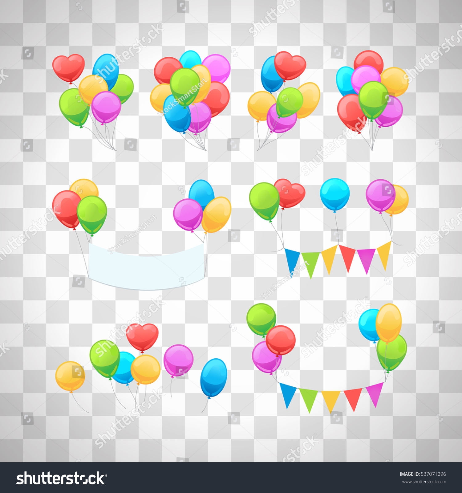 Vector Glossy Balloons Set Isolated On Stock Vector 537071296 ...