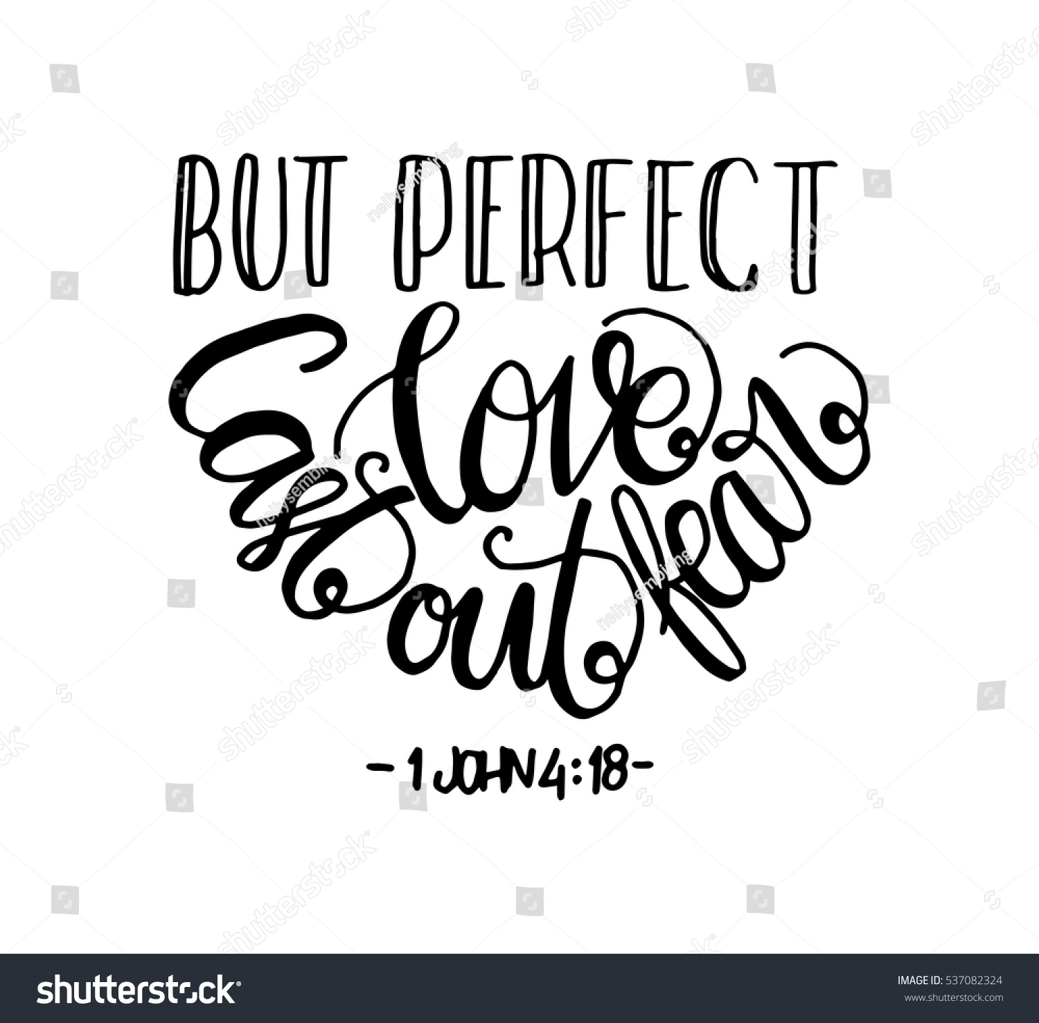 But Perfect Love Cast Out Fear. Bible Verse. Hand Lettered Quote. Modern  Calligraphy
