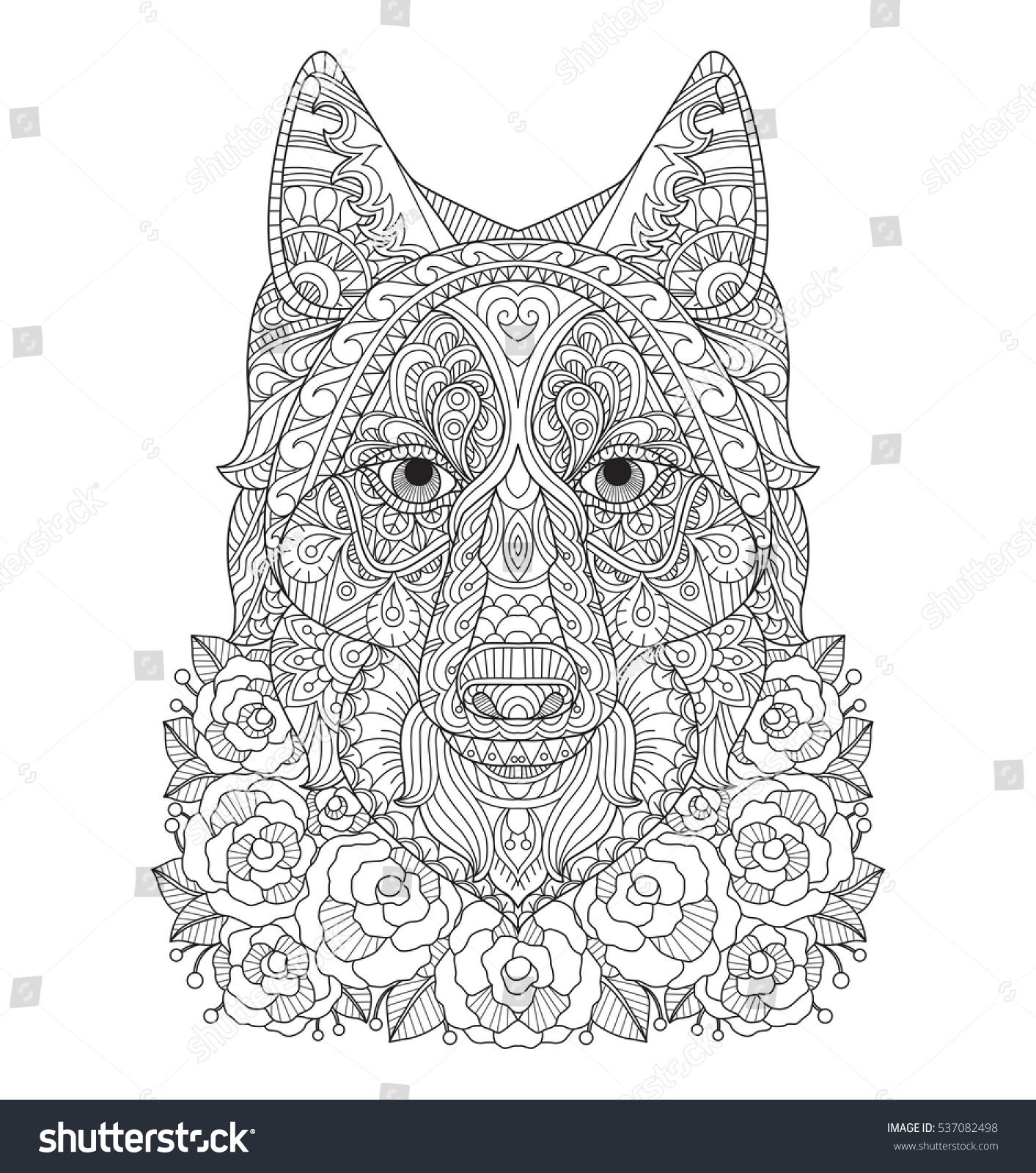 fox rose garden zentangle stylized cartoon stock vector