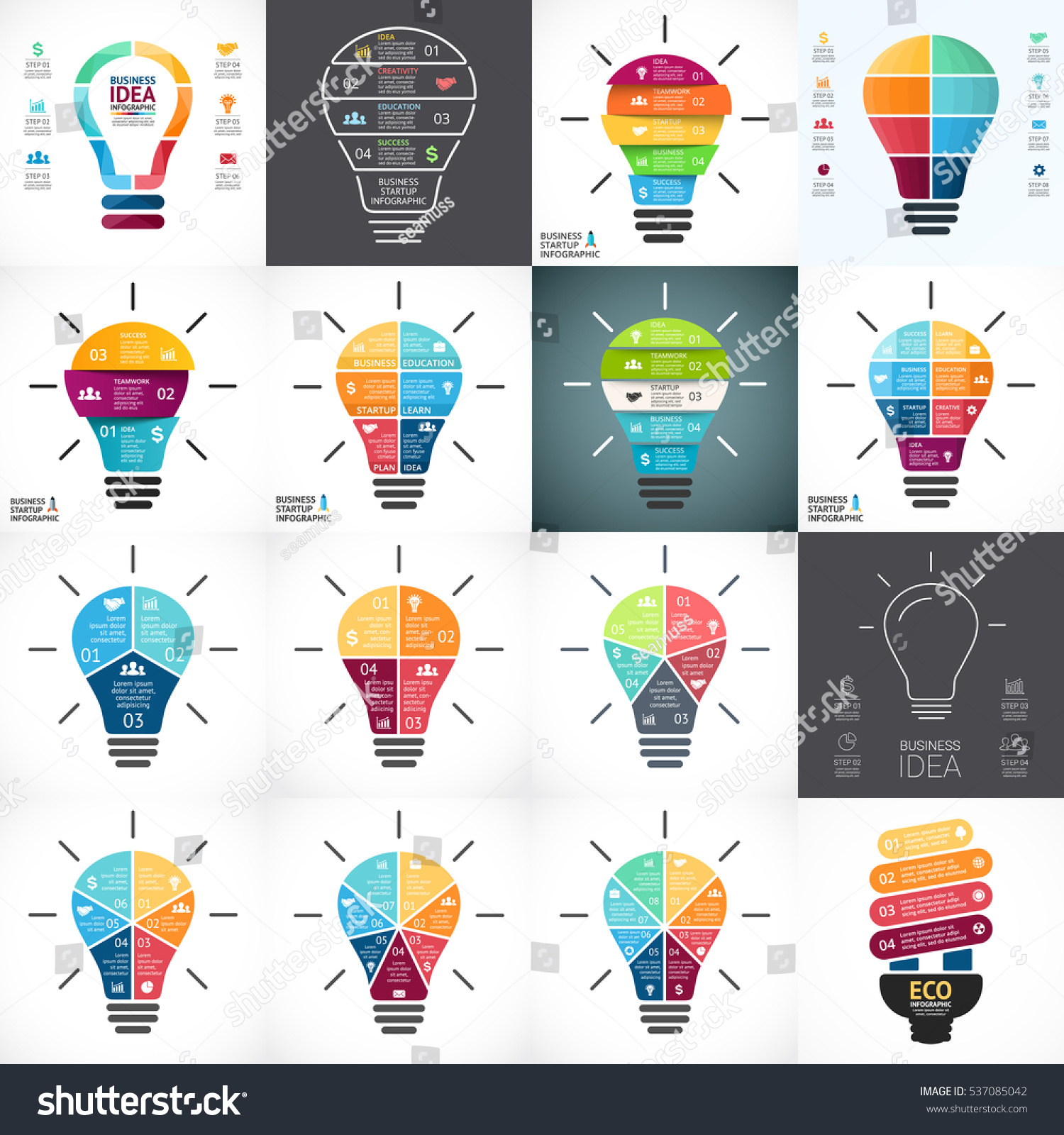 vector light bulb infographic template circle stock vector 537085042 shutterstock. Black Bedroom Furniture Sets. Home Design Ideas