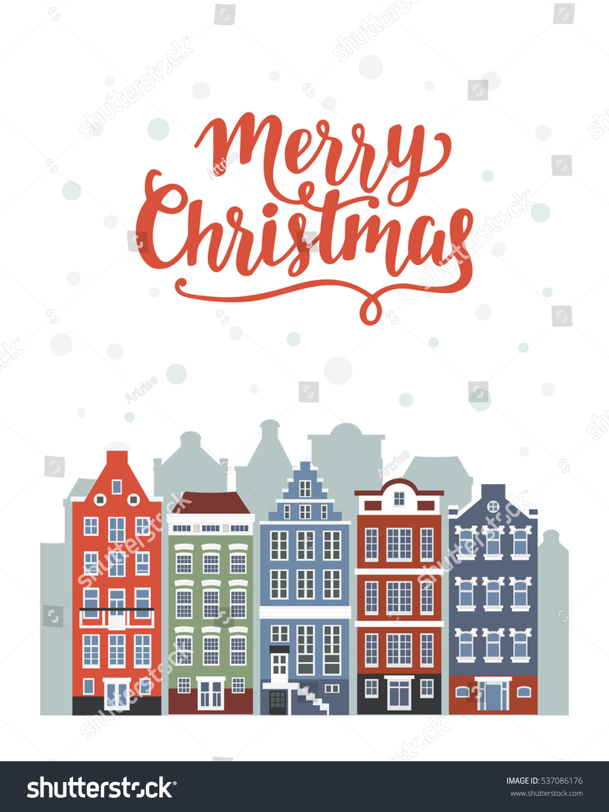 Royalty free stock illustration of merry christmas greeting card merry christmas greeting card with winter amsterdam houses vintage card illustration m4hsunfo