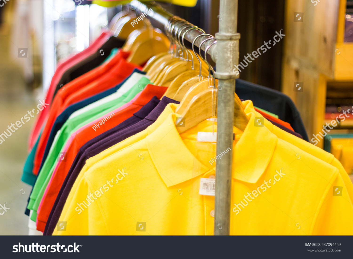 Men Polo Shirts Sale On Hangers Stock Photo Edit Now 537094459