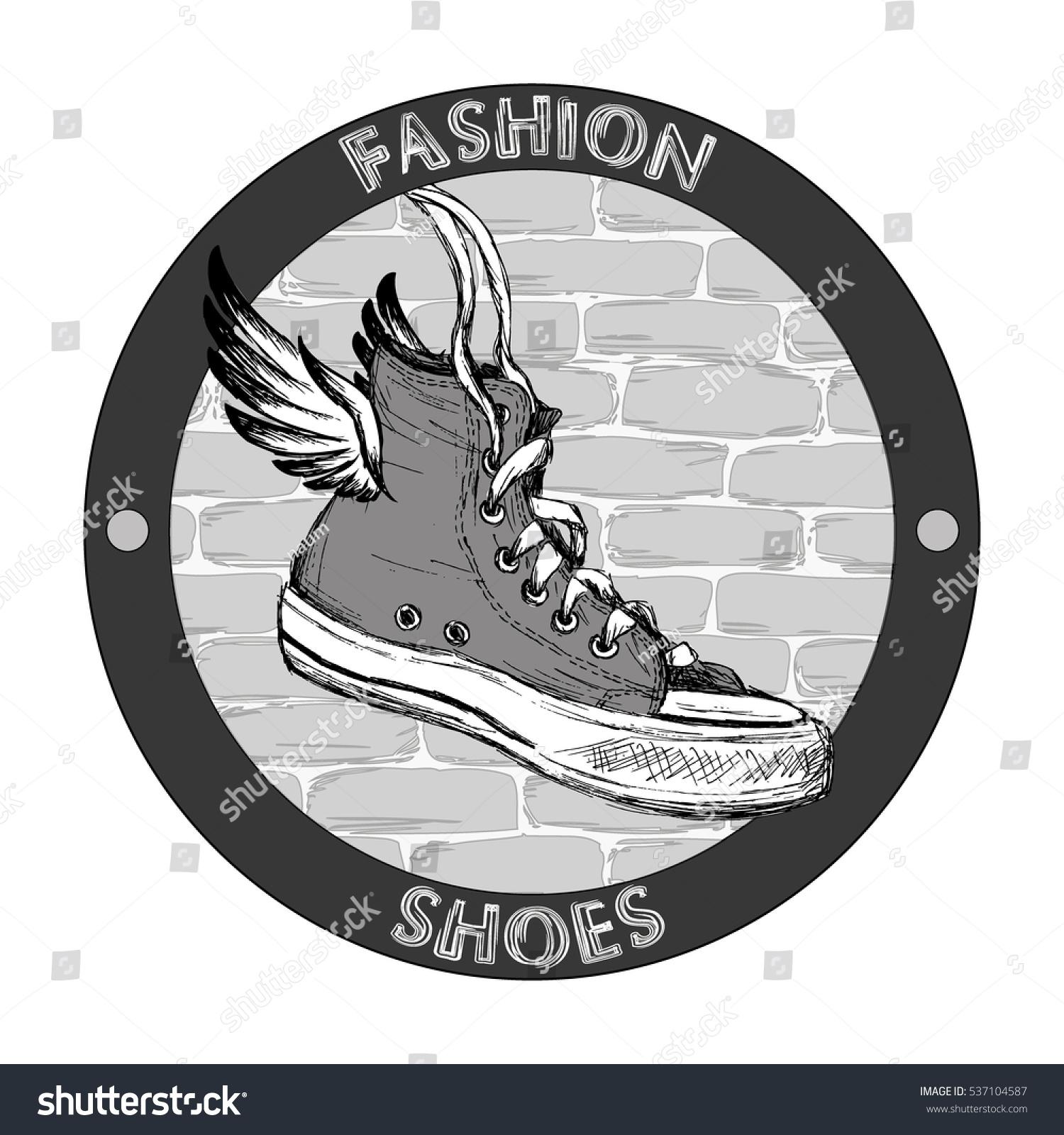 Hipster Gumshoe Wings Grunge Hand Drawn Stock Illustration 537104587