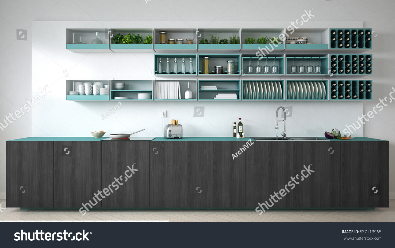 Scandinavian White Kitchen Wooden Turquoise Details Stock Illustration 537113965 Shutterstock