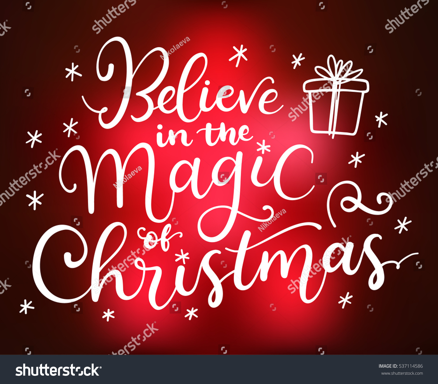 Believe Magic Christmas Vector Greeting Card Stock Vector Royalty