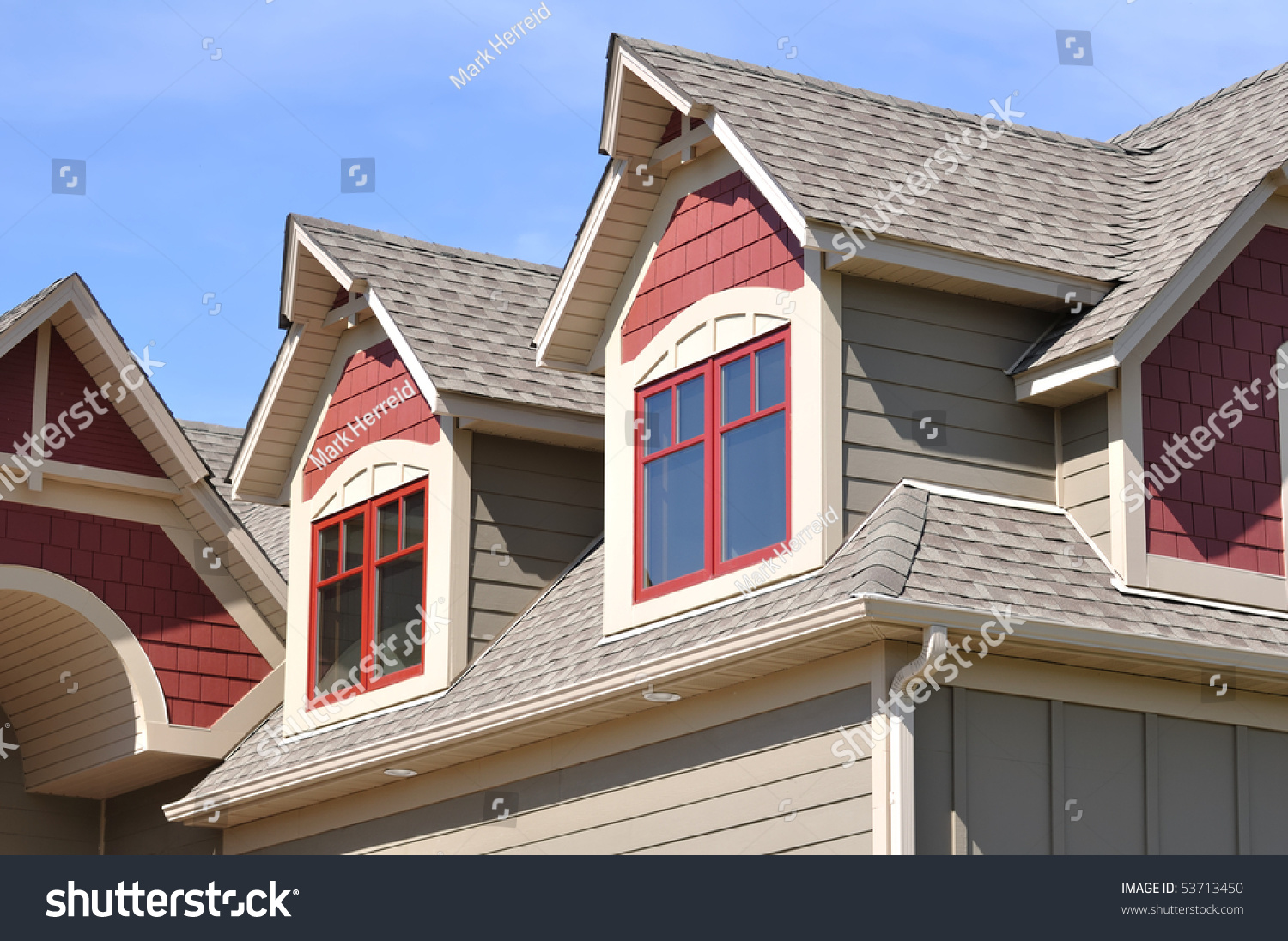 Gable Dormers Roof Residential House Stock Photo 53713450