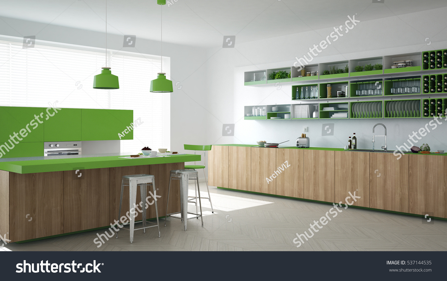 Scandinavian White Kitchen Wooden Green Details Stock Illustration 537144535 Shutterstock