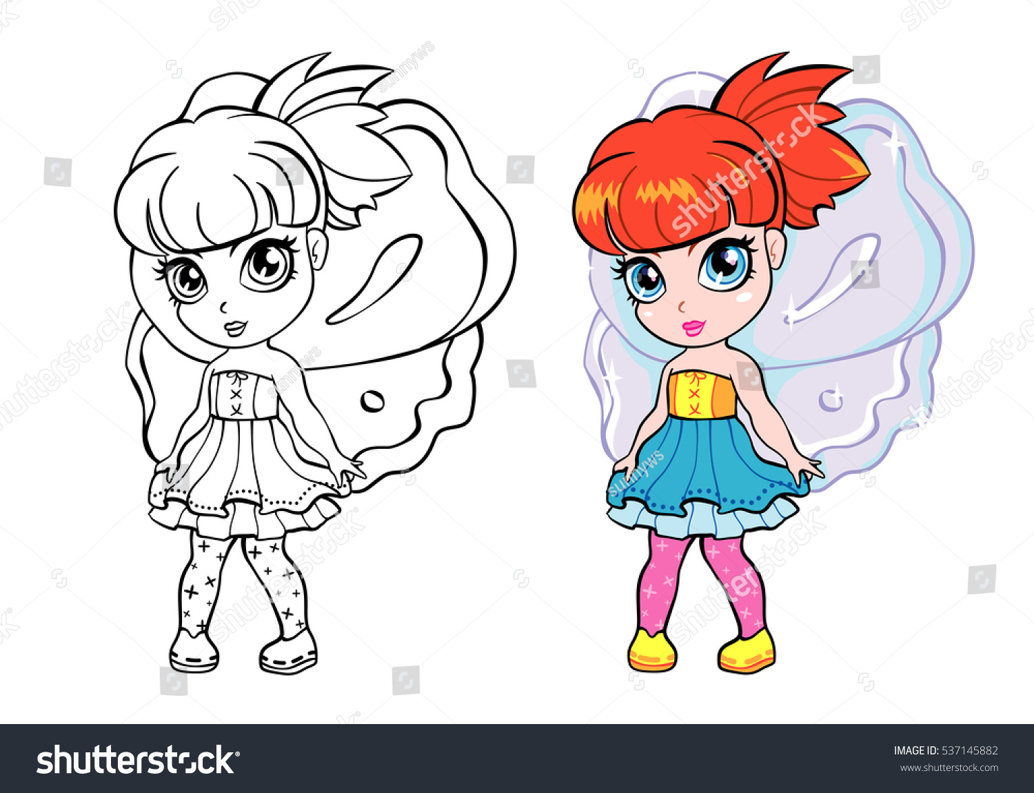 Vector Colorful Elf Fairy Girl Coloring Stock Vector (Royalty Free ...