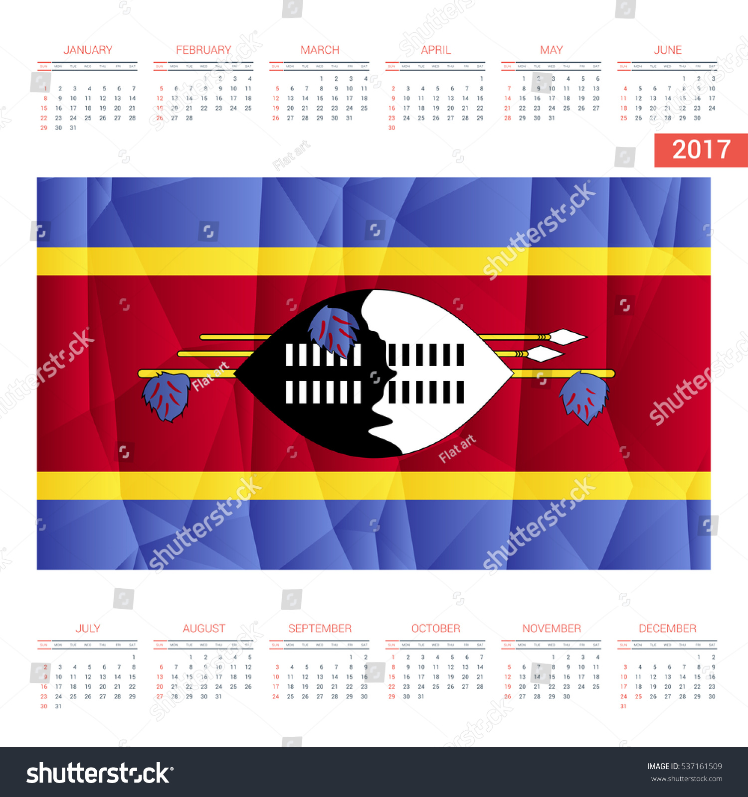 2016 calendar swaziland country flag happy new year calendar template vector illustration
