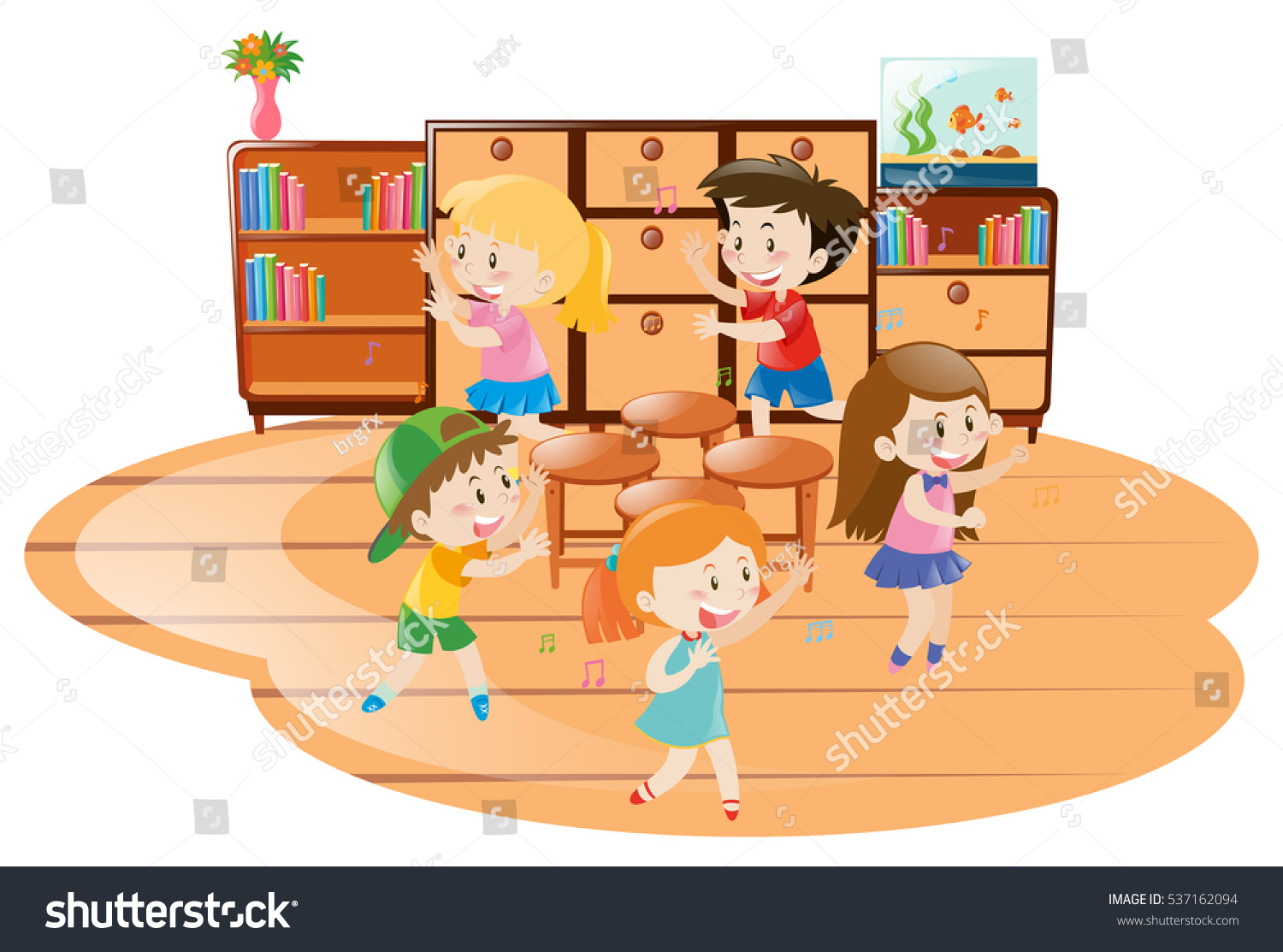 Children playing musical chairs classroom illustration for Sillas para jugar a la play