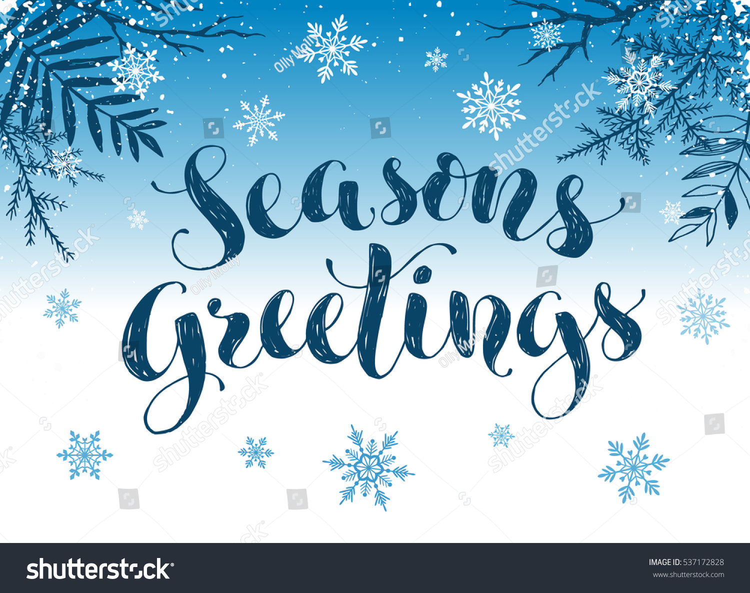 happy holidays postcard template modern new year lettering with snowflakes and branches on blue background