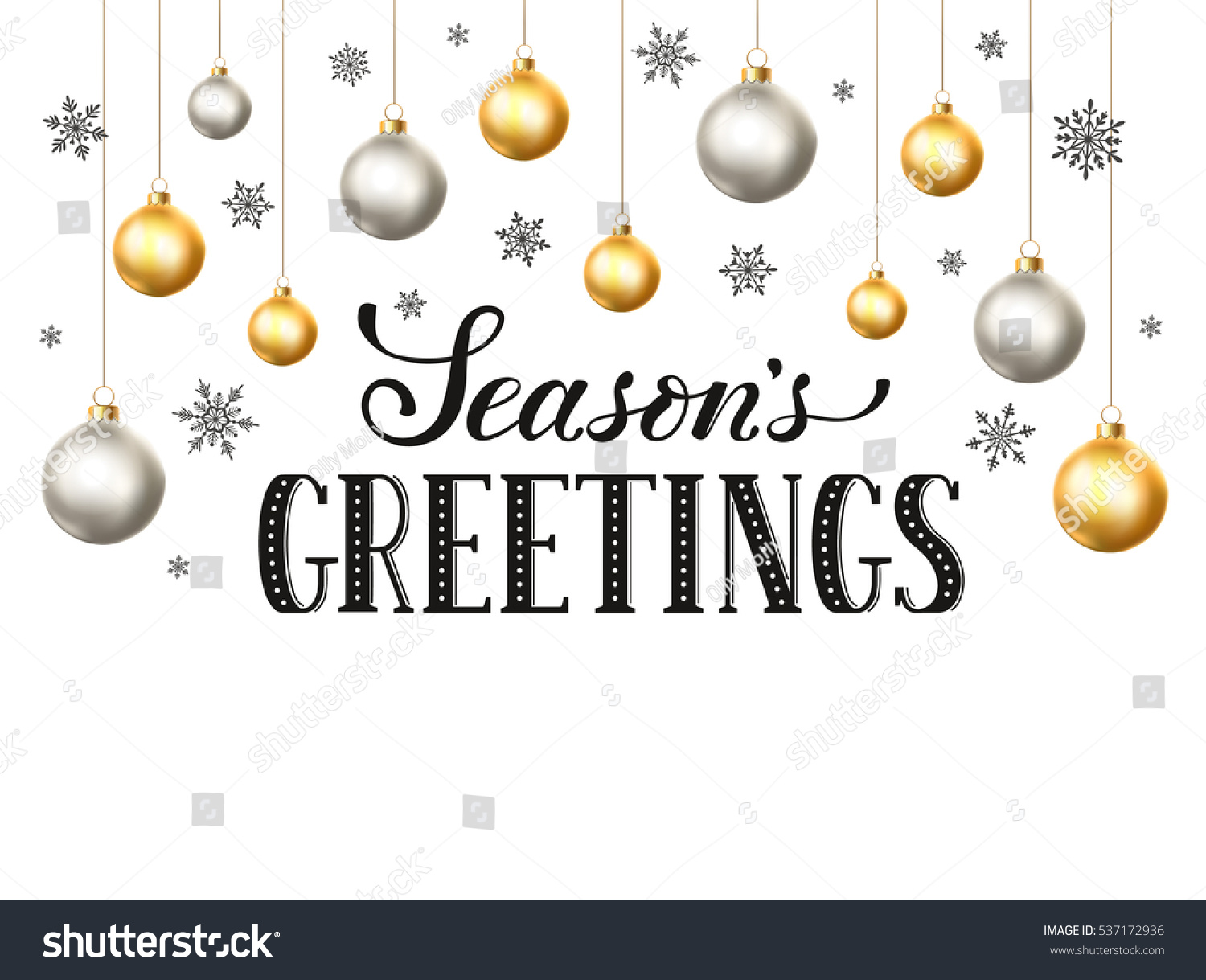 Happy holidays greeting card template modern stock vector happy holidays greeting card template modern new year lettering with snowflakes ans christmas balls isolated kristyandbryce Image collections