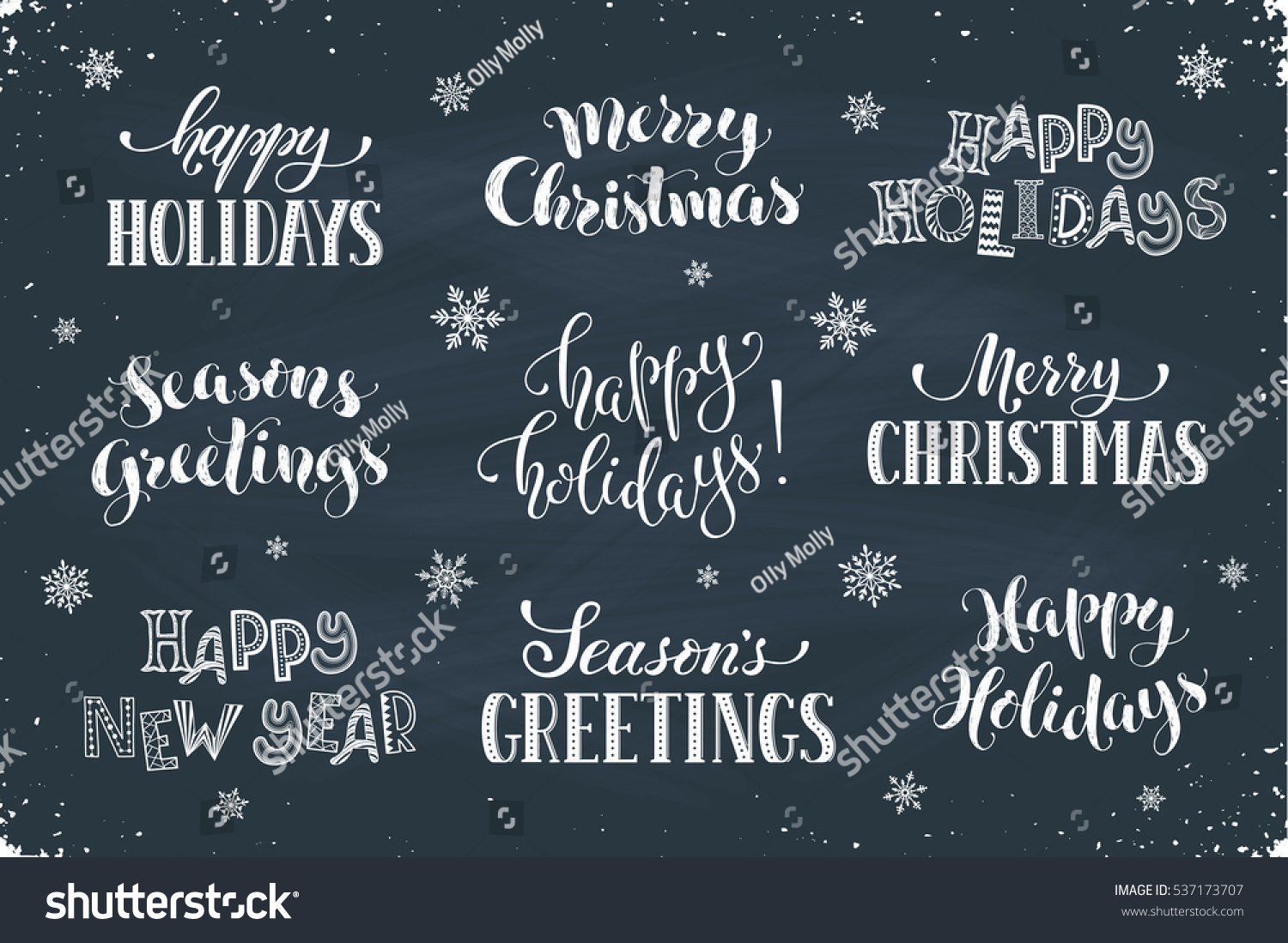 Hand Written New Year Phrases Greeting Stock Vector Royalty Free