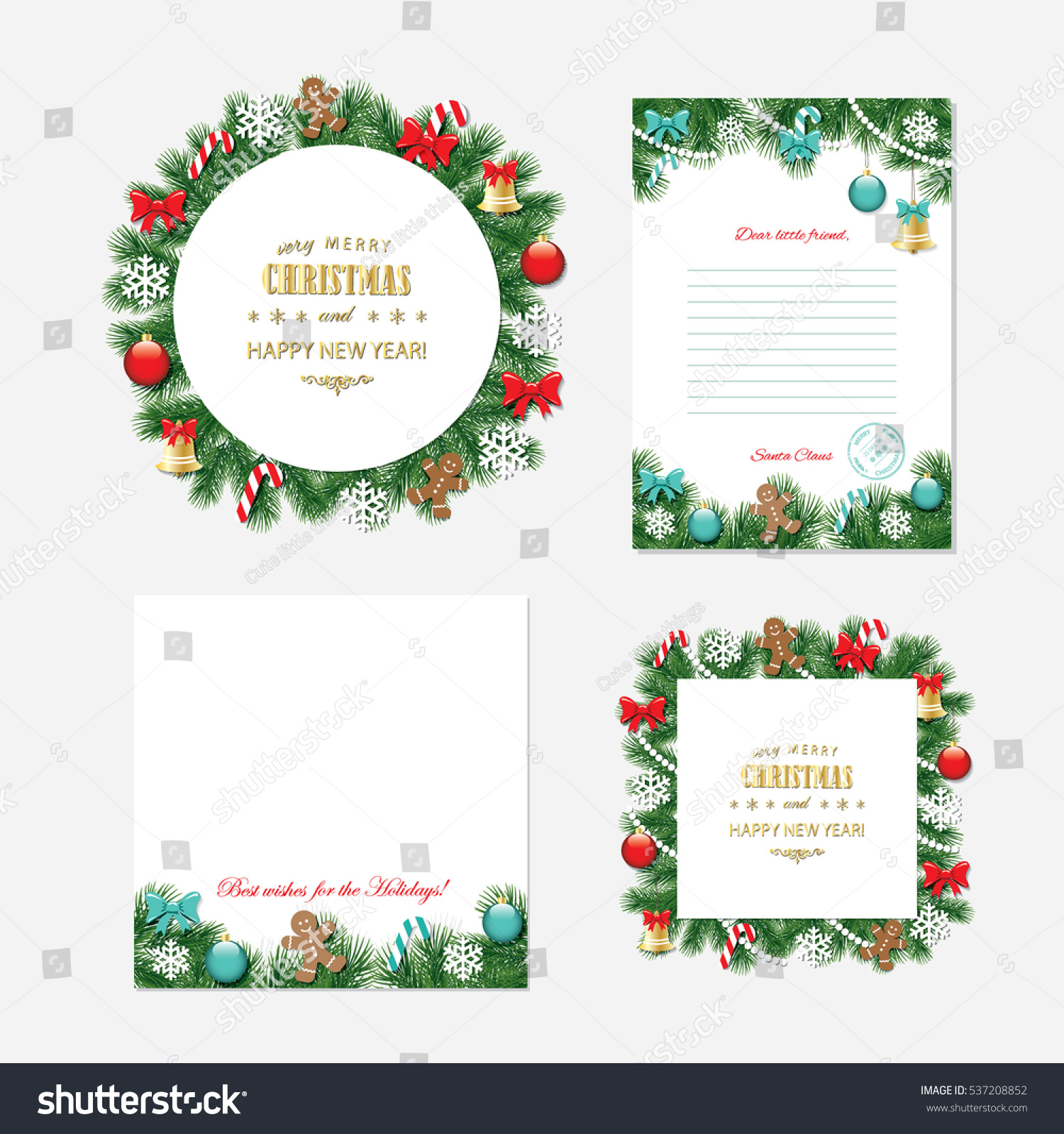 Christmas New Year Templates Santa Claus Stock Vector Royalty Free