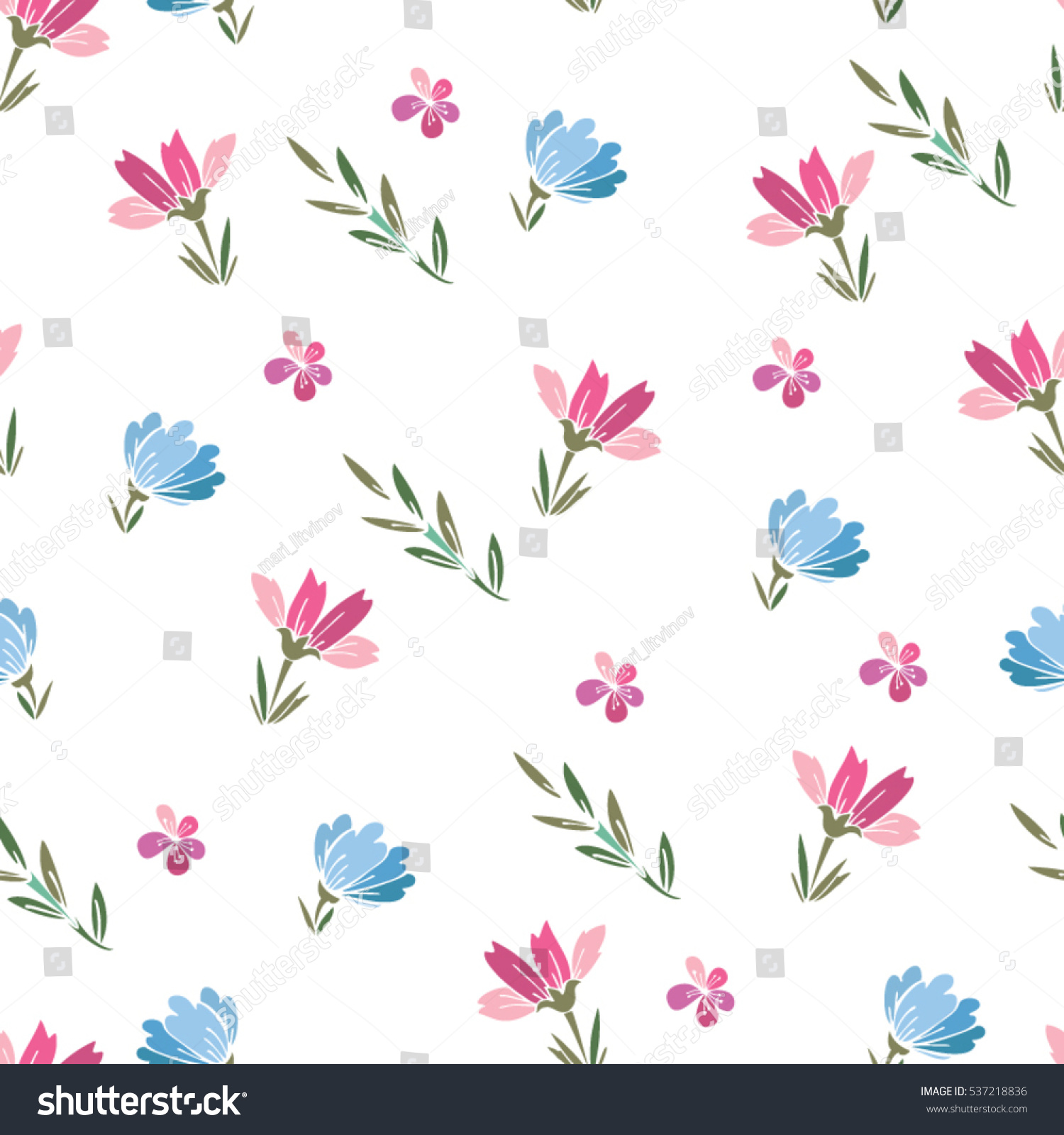 Pink floral seamless vector background floral hrysanthemum seamless - Floral Cute Vector Seamless Pattern Of Small Flowers In Pale Pink And Blue Background For