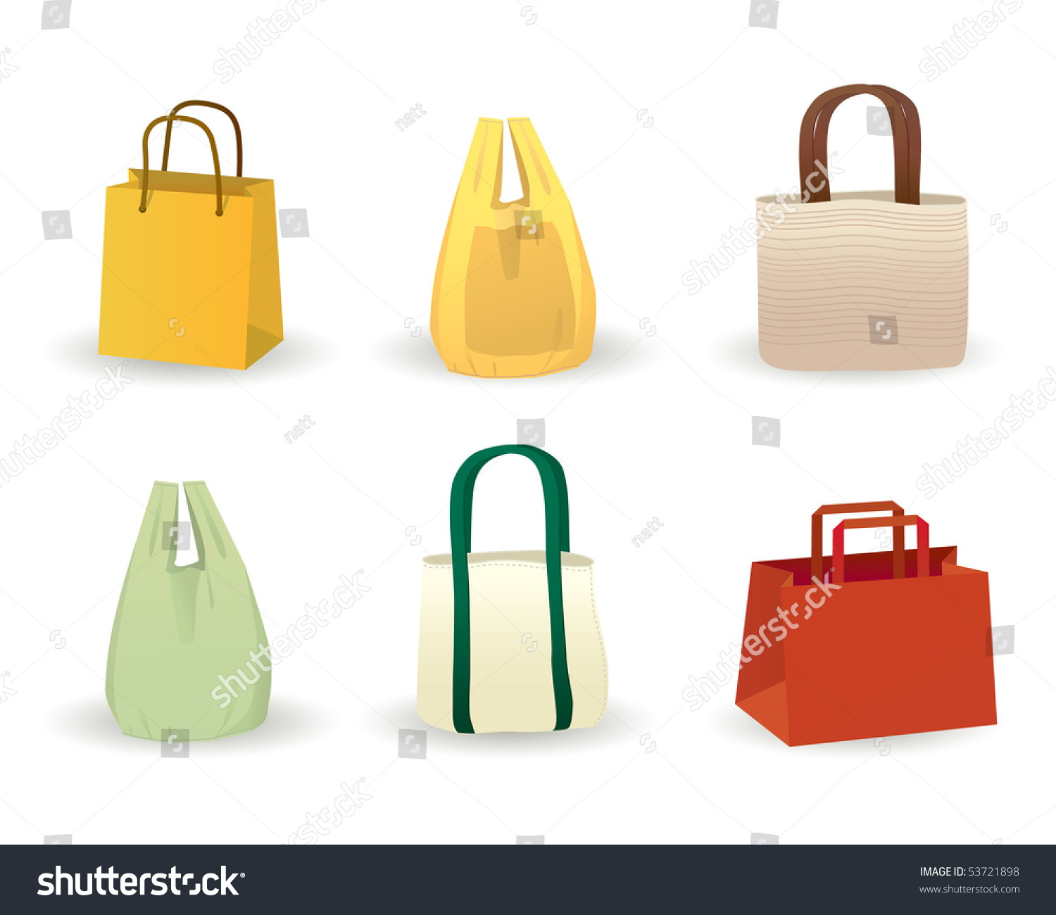 Wide Range Shopping Bags Including Paper Stock Vector 53721898 ...