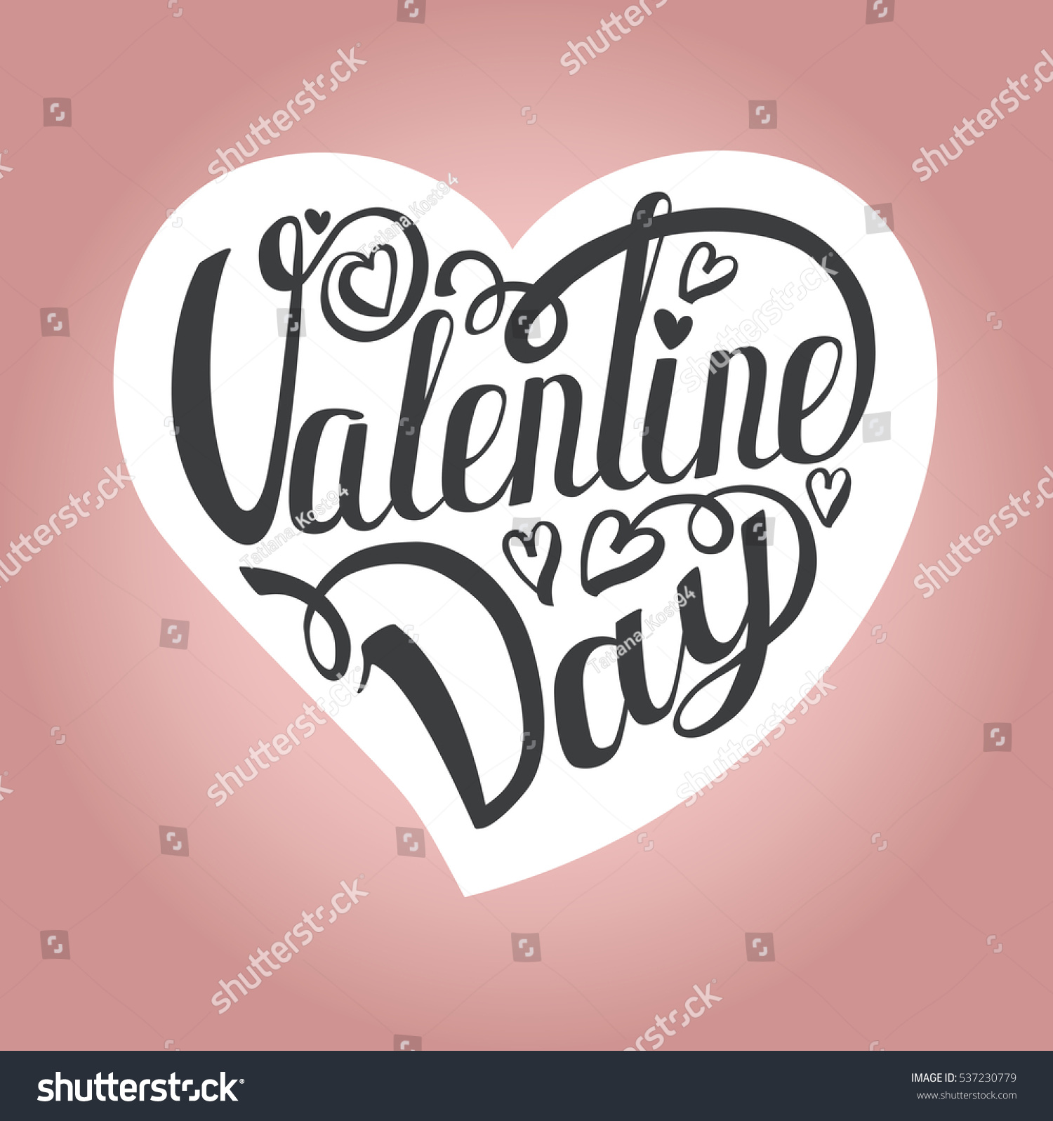 Happy Valentines Day Card Vector Pink Background Vector Love Stock