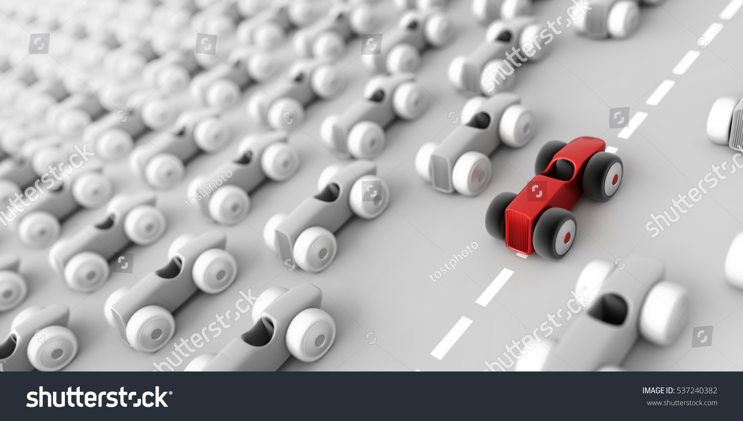 The fastest race car business and leadership concepts 3D rendering horizontal background