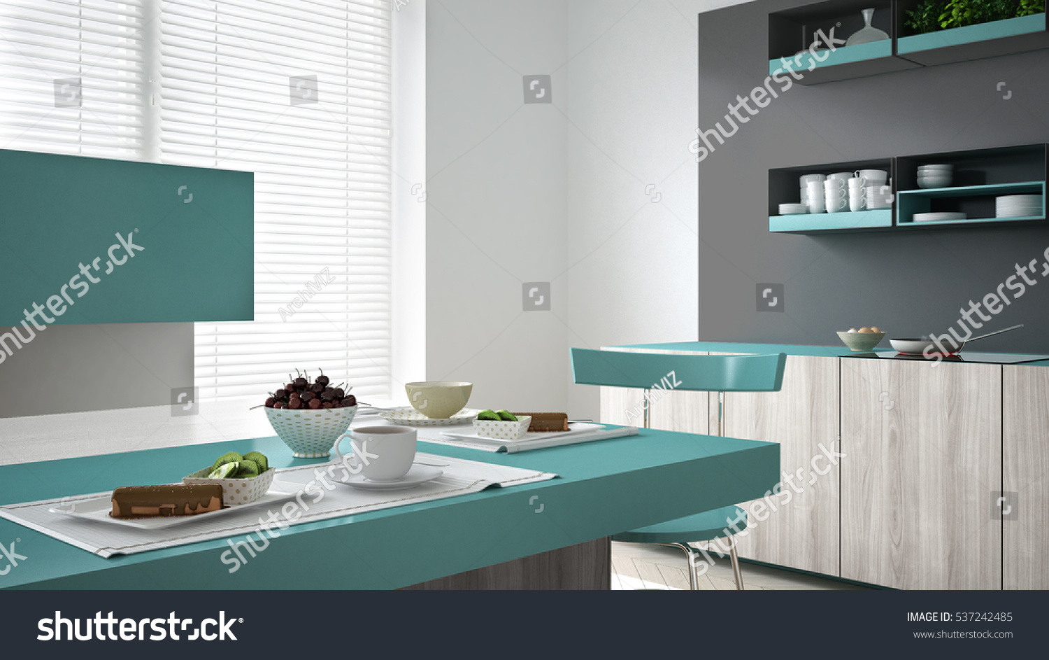 Minimalistic Gray Kitchen Wooden Turquoise Details Stock ...