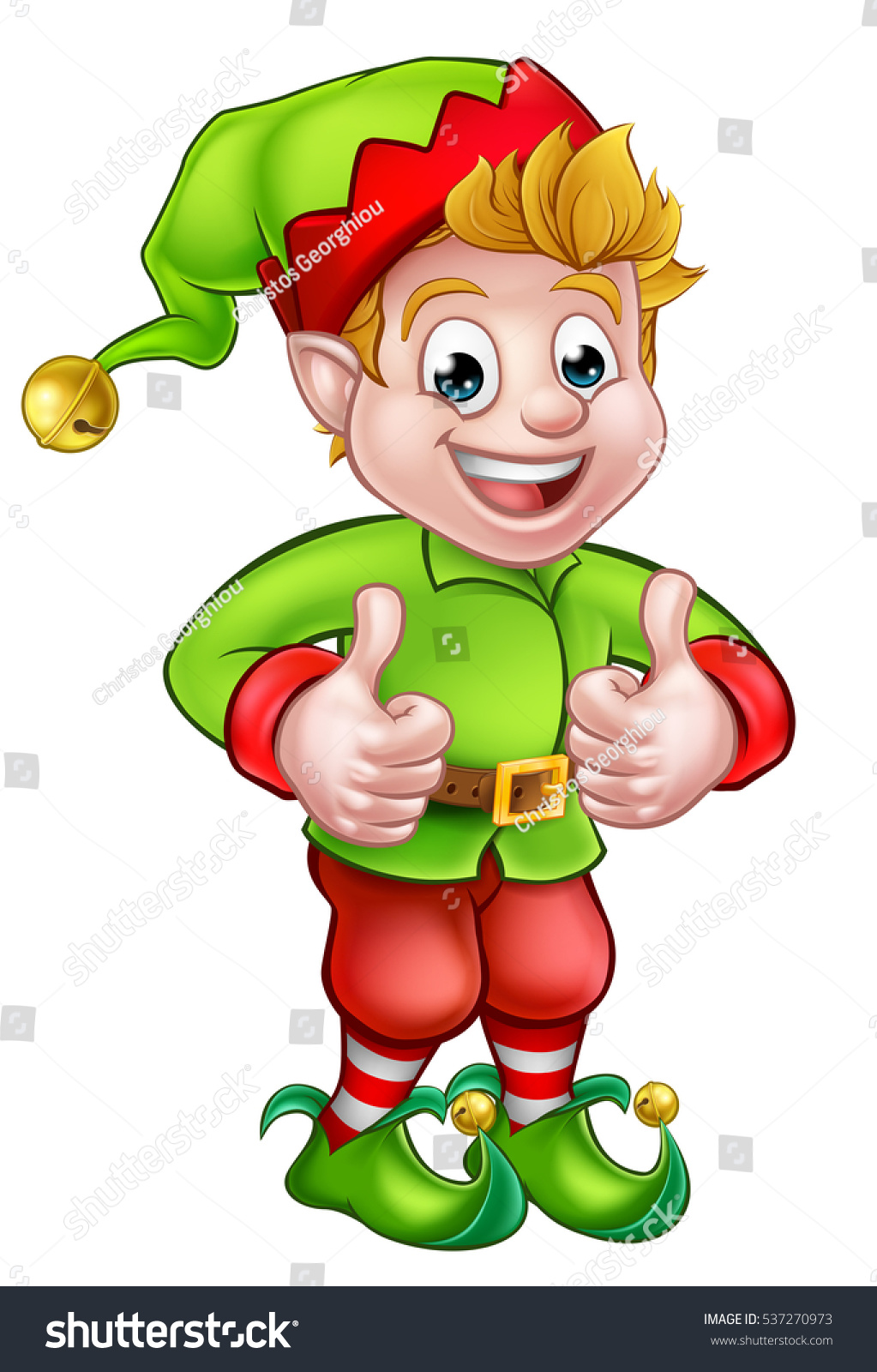 cute cartoon christmas elf giving thumbs stock illustration
