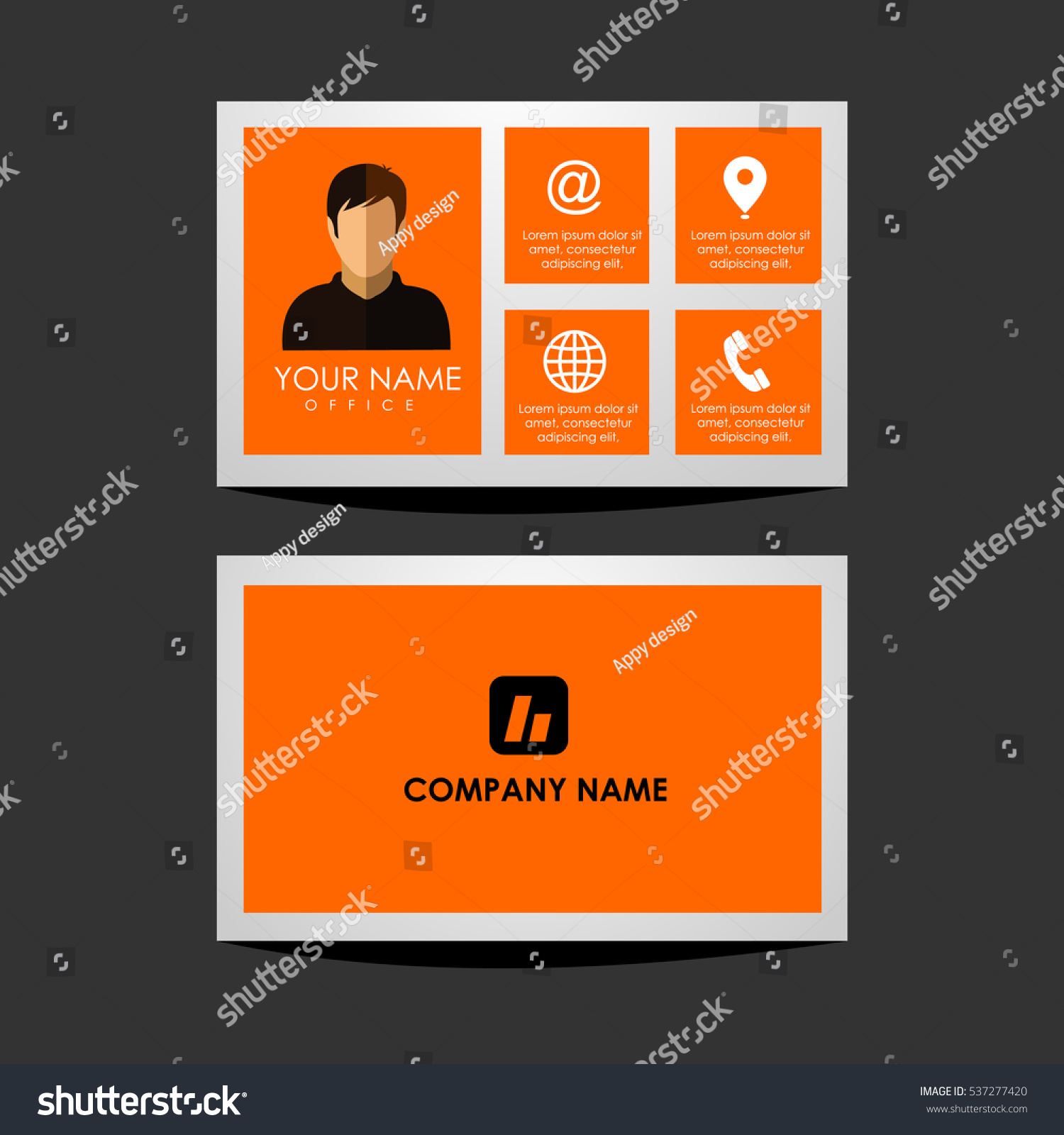 Design Template Id Card Business Card Stock Vector 537277420 ...