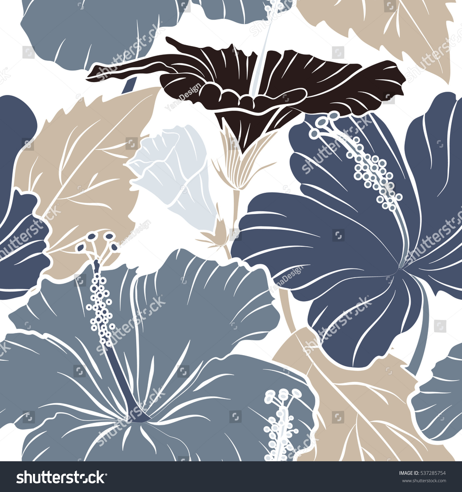 Hawaiian Tropical Natural Floral In Brown And Gray Colors Hibiscus