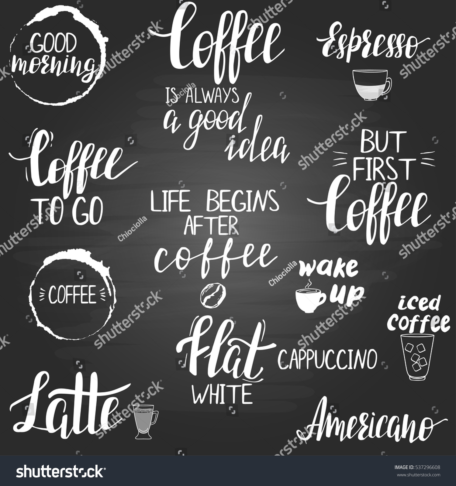 Coffee Quotes Titles On Blackboard Modern Stock Vector Royalty Free