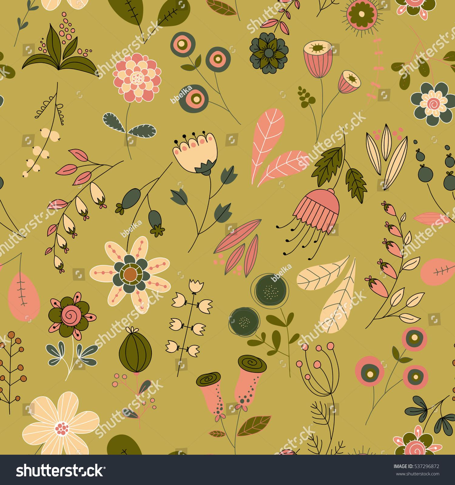 Vector Flower Pattern Colorful Seamless Botanic Stock Vector
