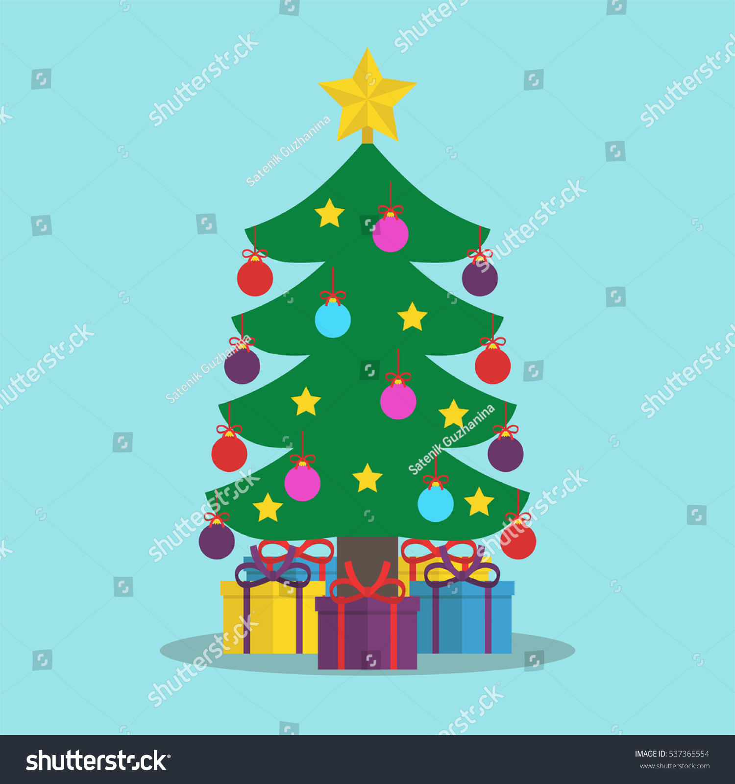 Christmas Tree Decorated Colored Balls Star Stock Vector 537365554 ...