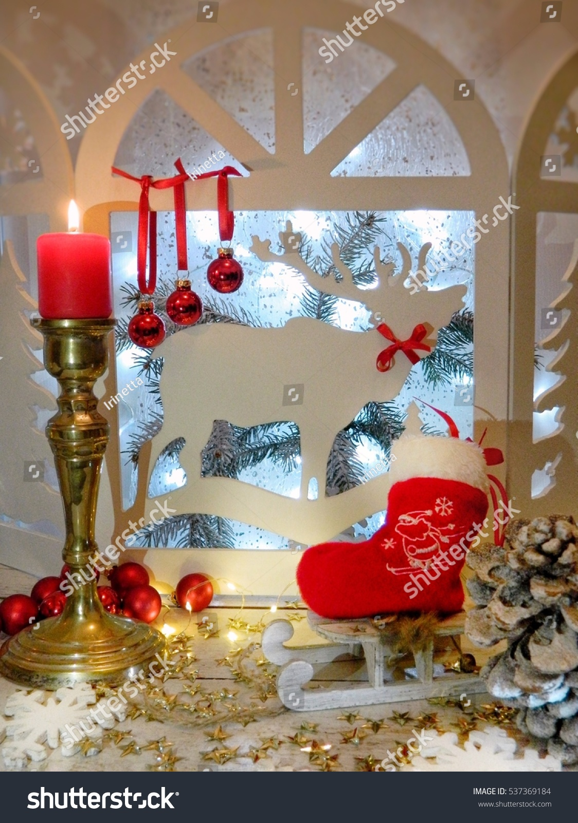 Christmas Decor House Window H Reindeer Stock Photo (Edit Now ...