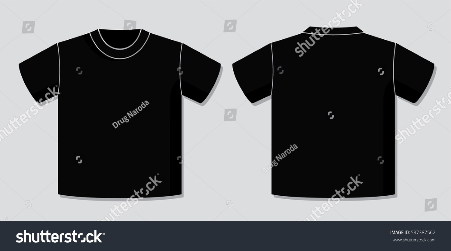 Black t shirt vector front and back - T Shirt Vector Template With Front And Back View Of The Unisex Blank Garment Design