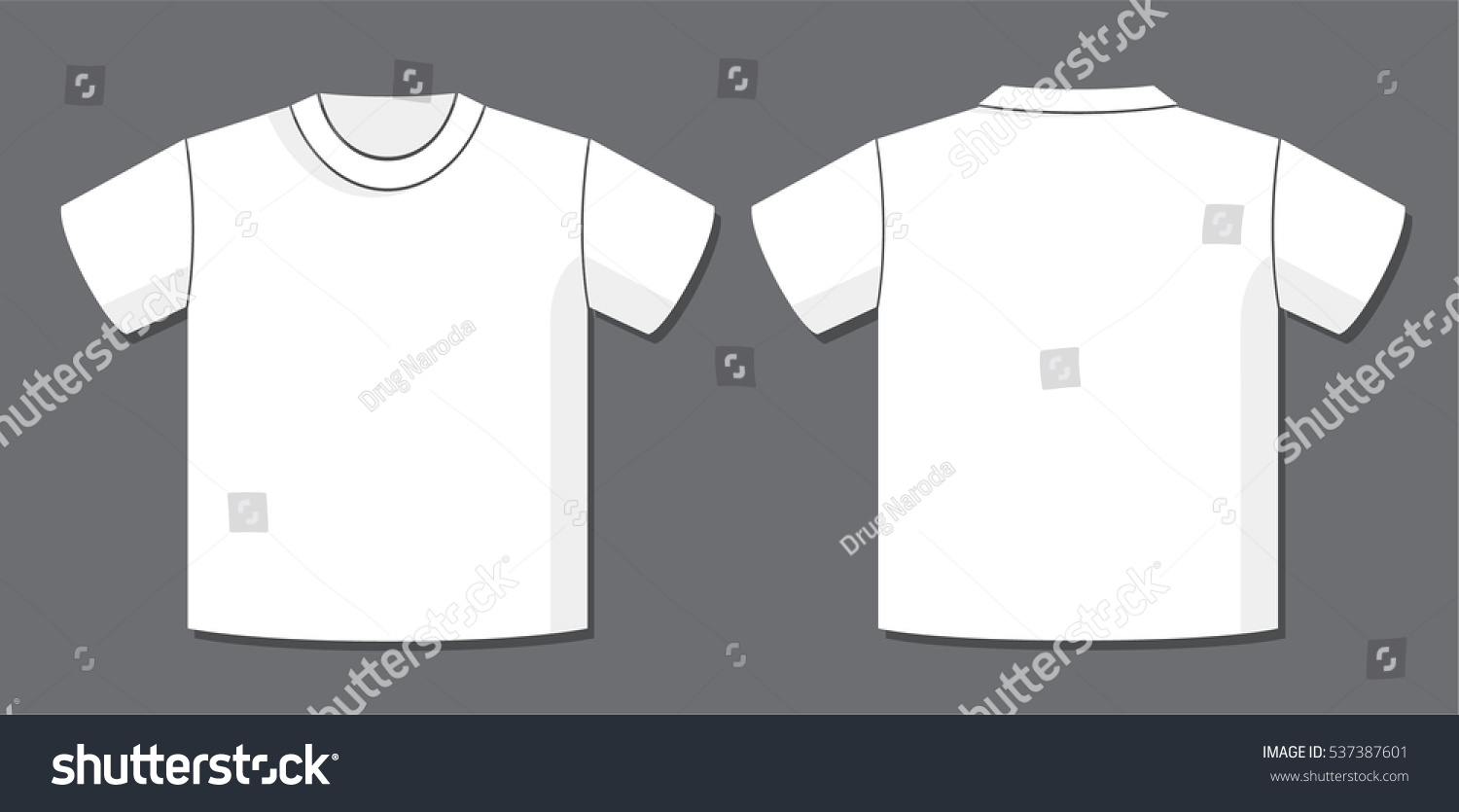 White t shirt front and back template - T Shirt Vector Template With Front And Back View Of The Unisex Blank Garment Design