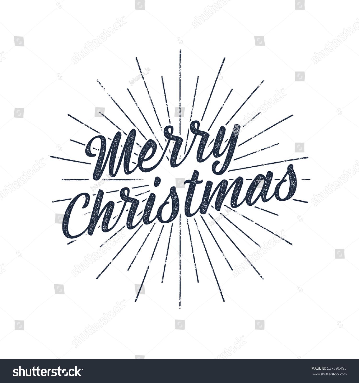 Merry Christmas Typography Label Retro Photo Stock Vector Royalty