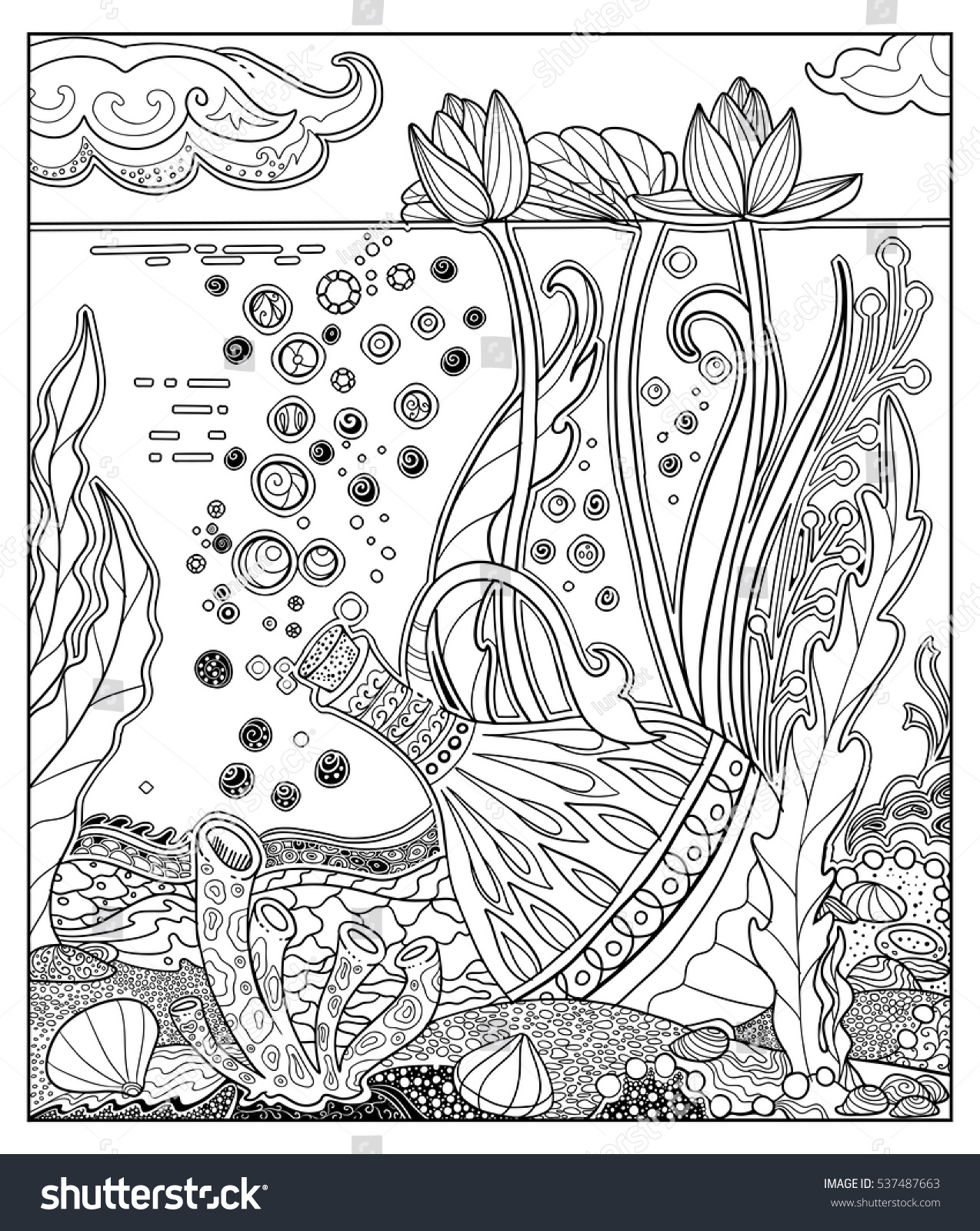 Doodle Illustration Fairy Tale Jug Treasure Stock Vector